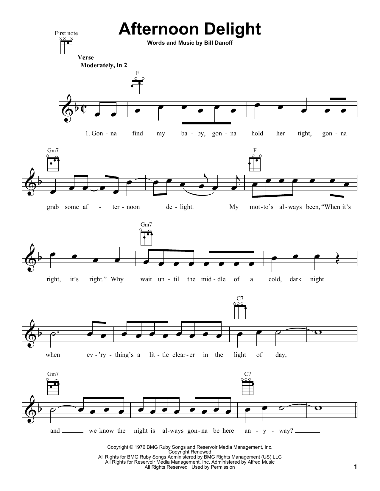 Afternoon Delight Sheet Music