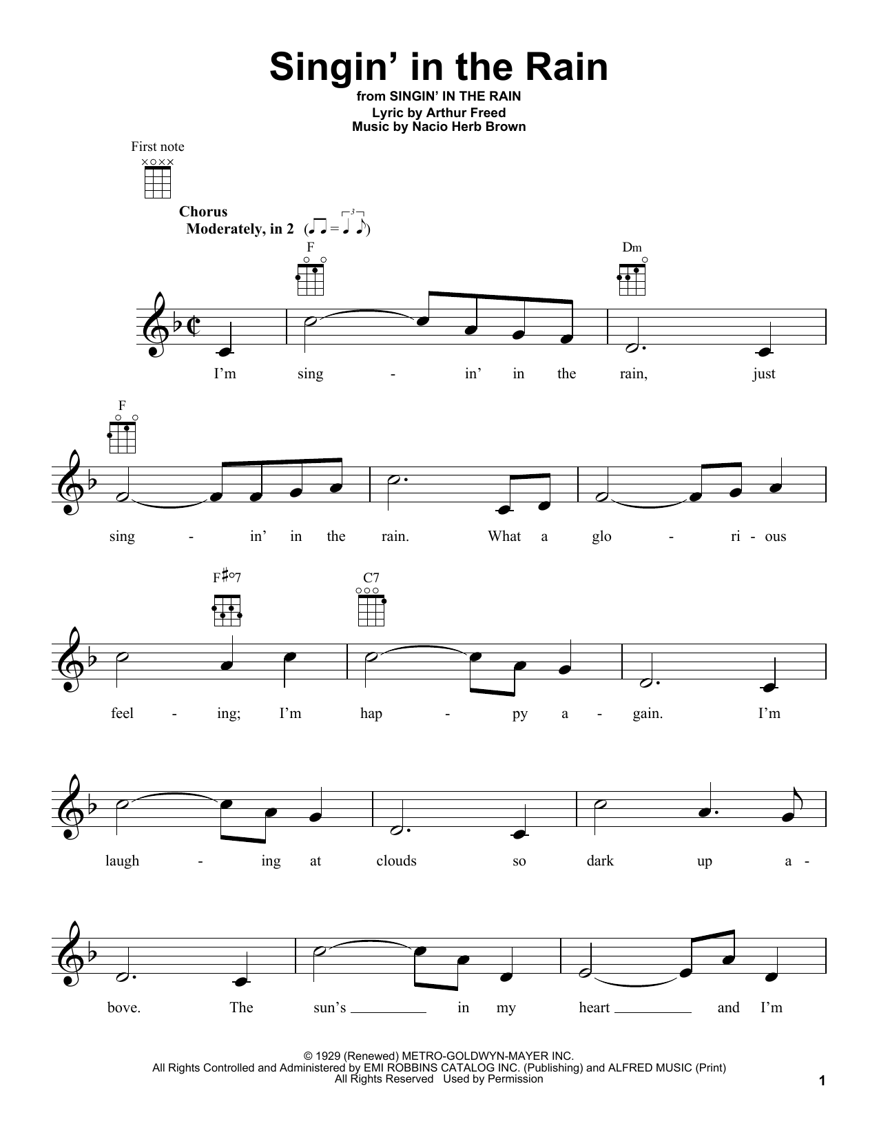 Tablature guitare Singin' In The Rain de Arthur Freed - Ukulele