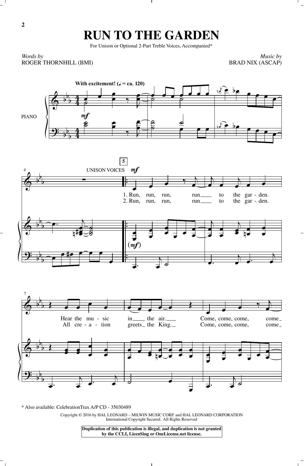 Run To The Garden Sheet Music