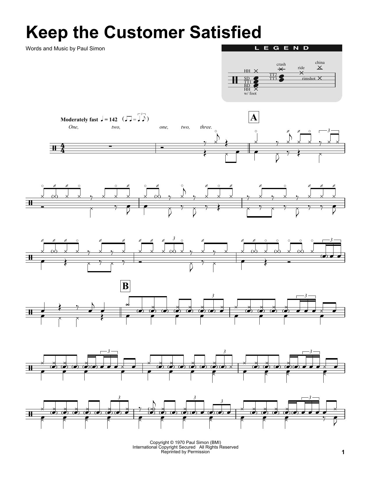 Keep The Customer Satisfied (Drums Transcription)