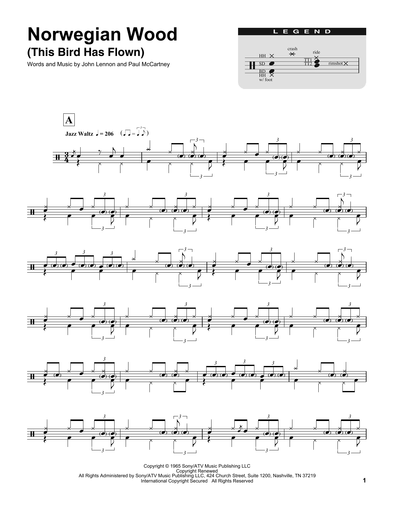 Norwegian Wood (This Bird Has Flown) (Drums Transcription)