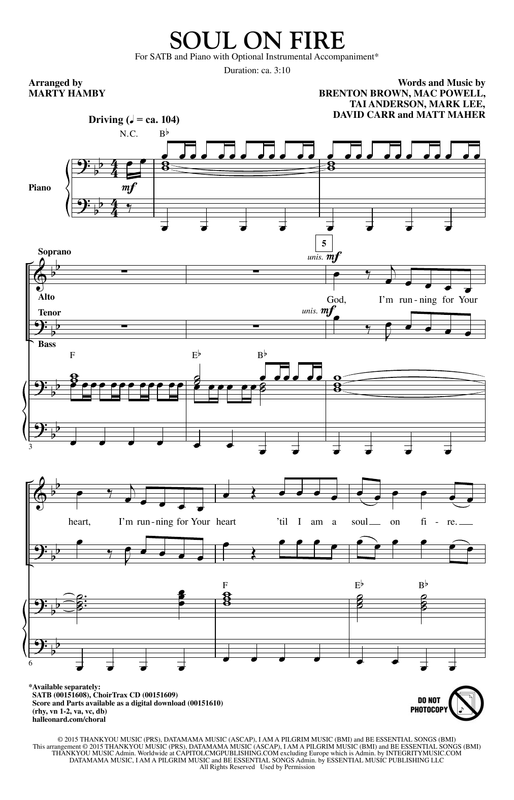 Soul On Fire Sheet Music
