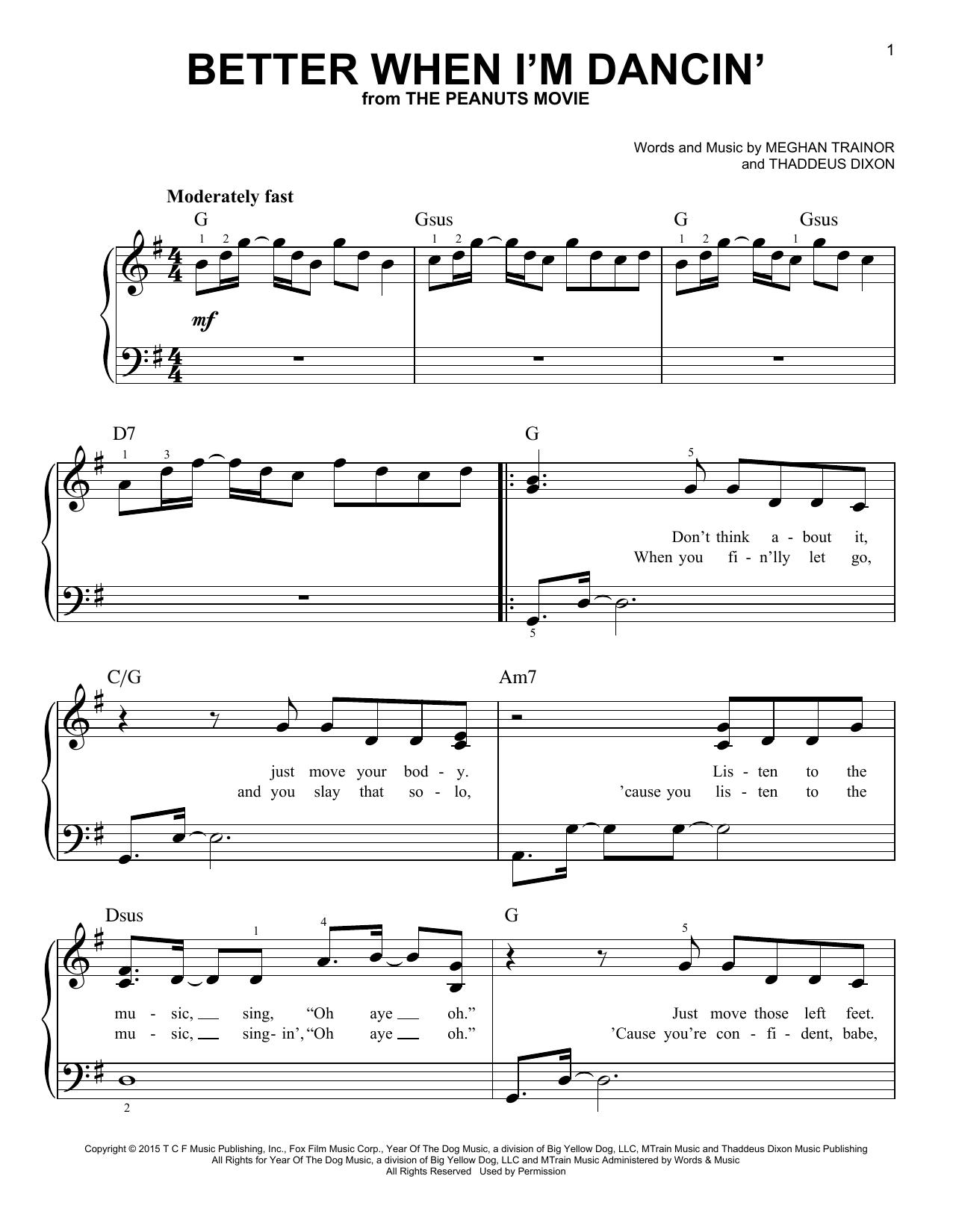 Partition piano Better When I'm Dancin' de Meghan Trainor - Piano Facile