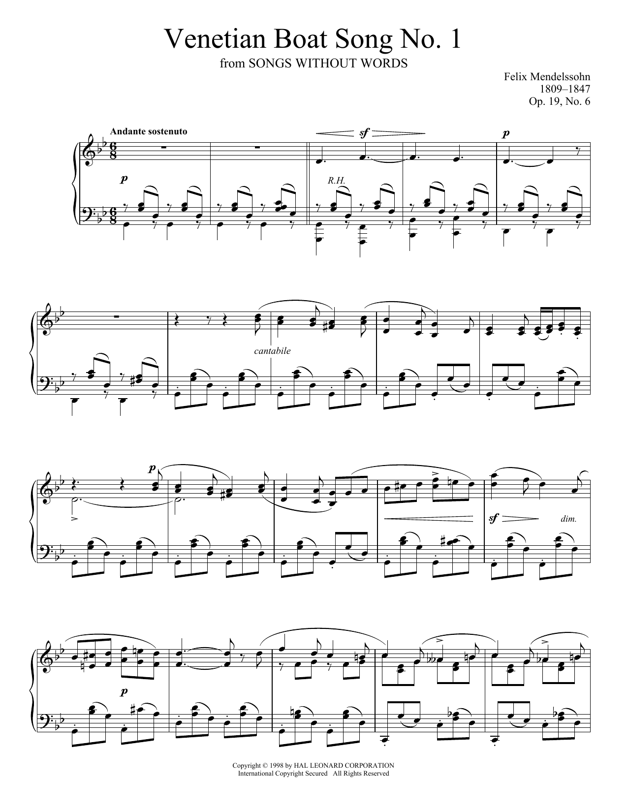 Venetian Boat Song No. 1, Op. 19, No. 6 (Piano Solo)