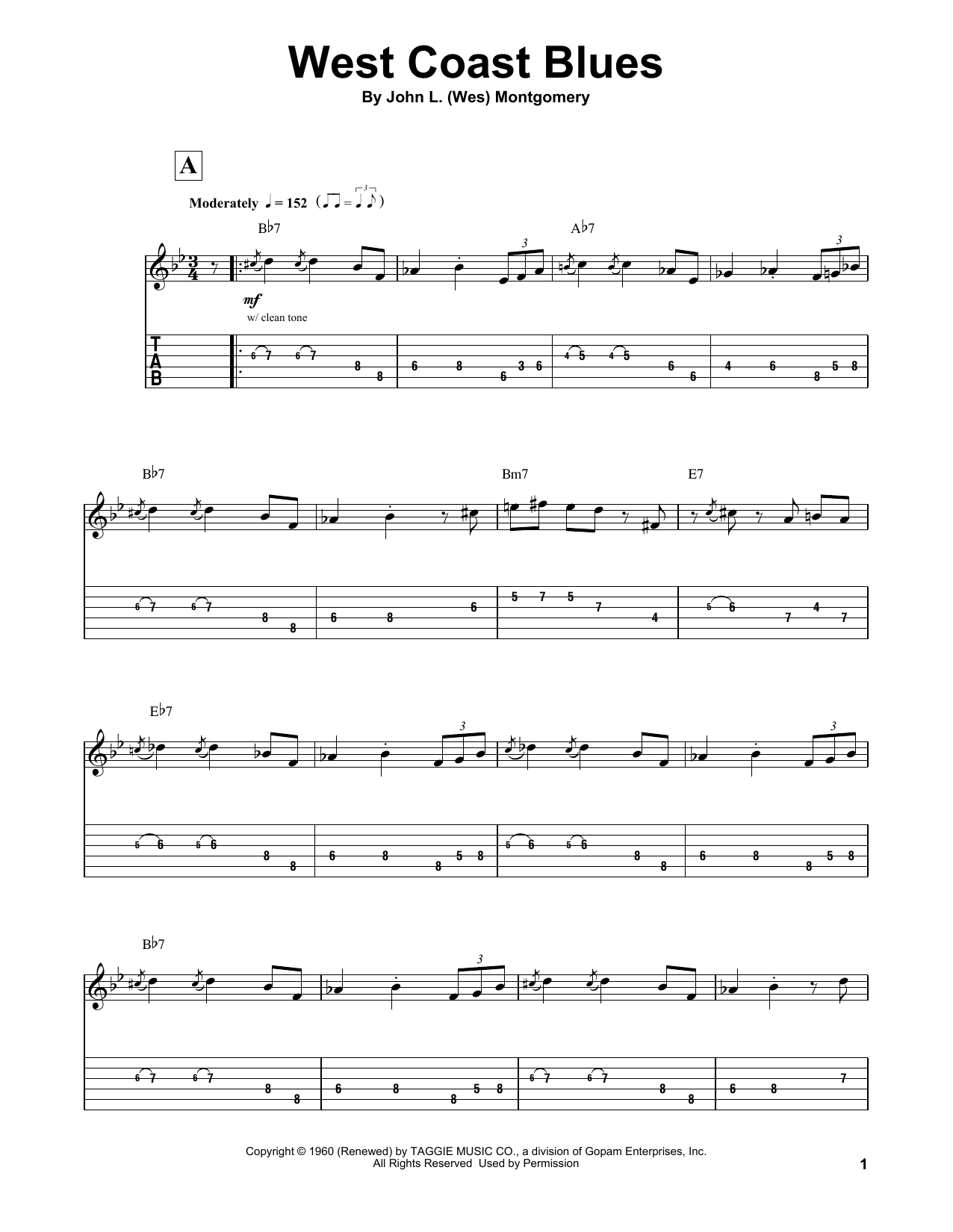 Tablature guitare West Coast Blues de Wes Montgomery - Autre