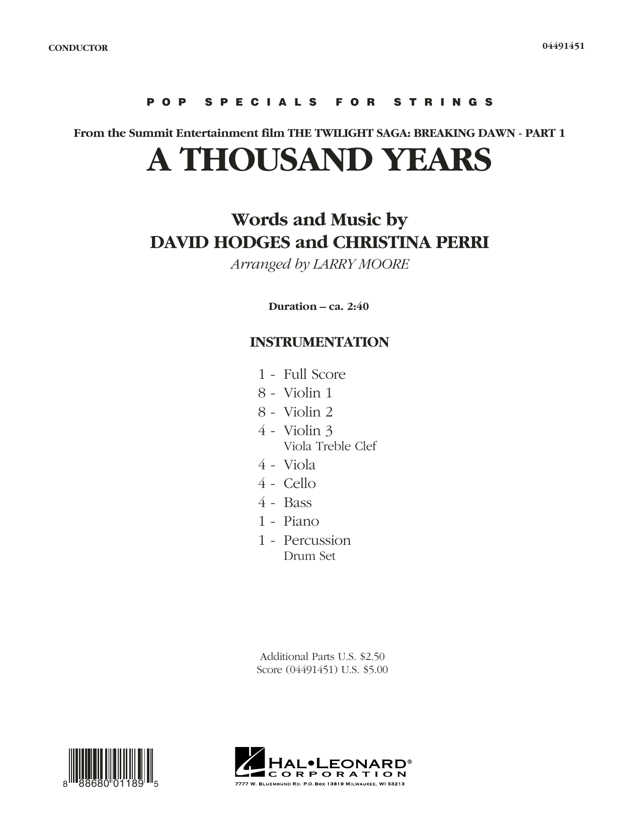A Thousand Years (COMPLETE) sheet music for orchestra by Larry Moore, Christina Perri and David Hodges. Score Image Preview.