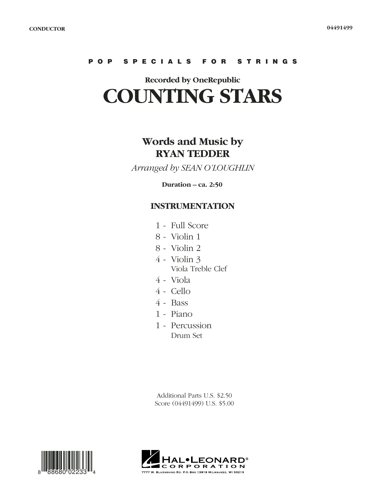 Counting Stars (COMPLETE) sheet music for orchestra by Sean O'Loughlin, OneRepublic and Ryan Tedder. Score Image Preview.