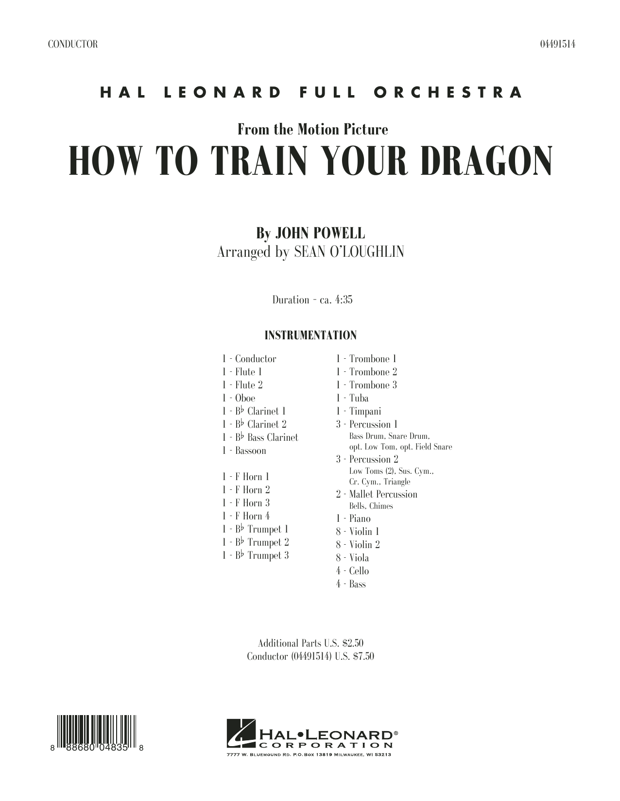 How to Train Your Dragon (COMPLETE) sheet music for full orchestra by Sean O'Loughlin and John Powell. Score Image Preview.