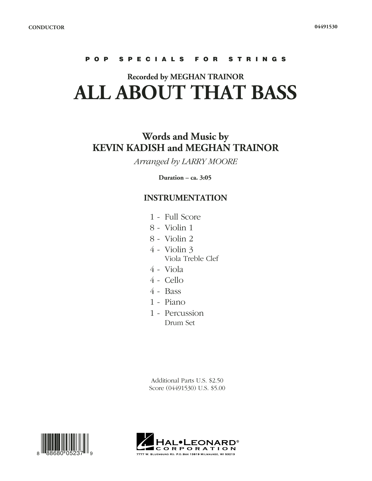 All About That Bass (COMPLETE) sheet music for orchestra by Larry Moore, Kevin Kadish and Meghan Trainor. Score Image Preview.