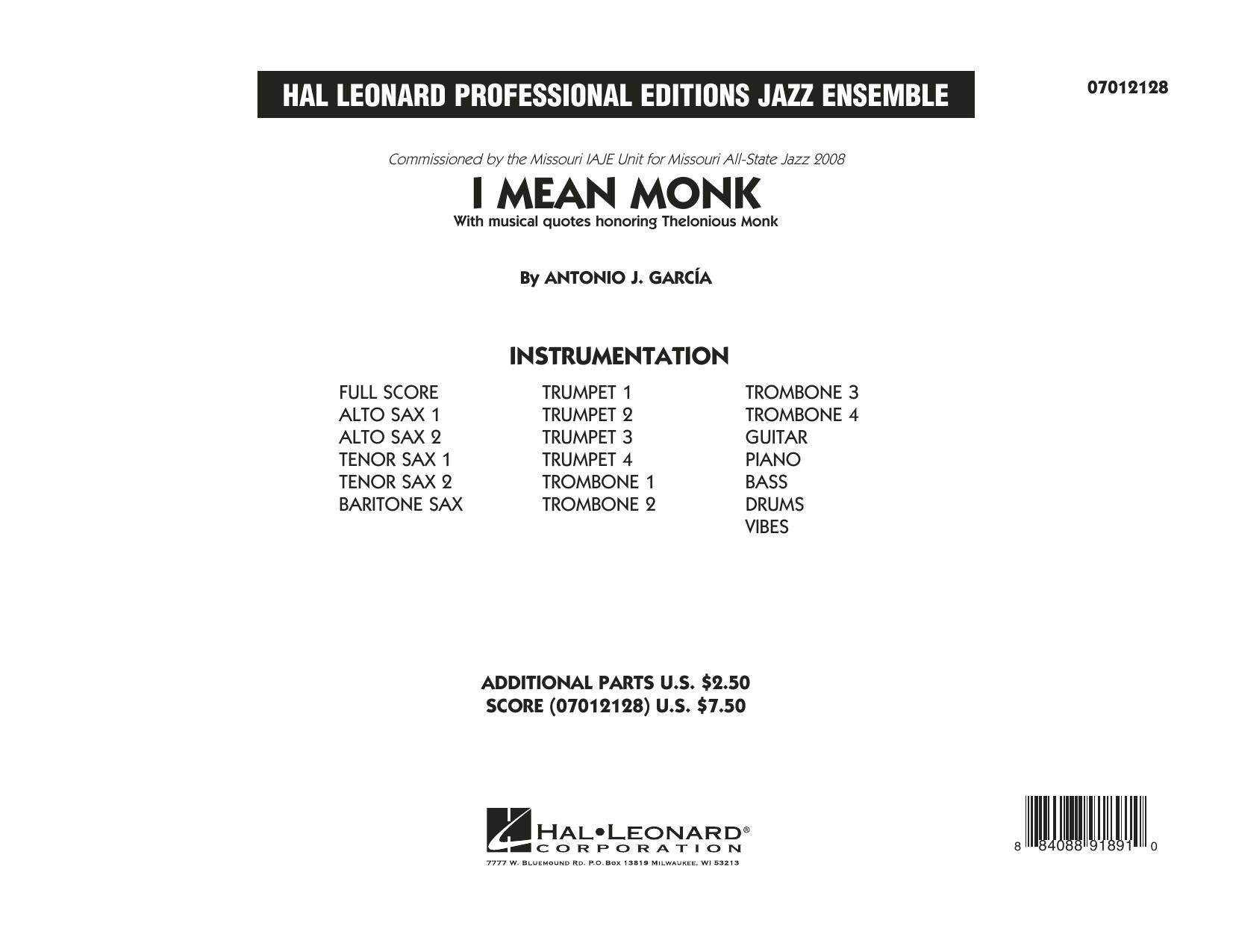 I Mean Monk - Conductor Score (Full Score) (Jazz Ensemble)