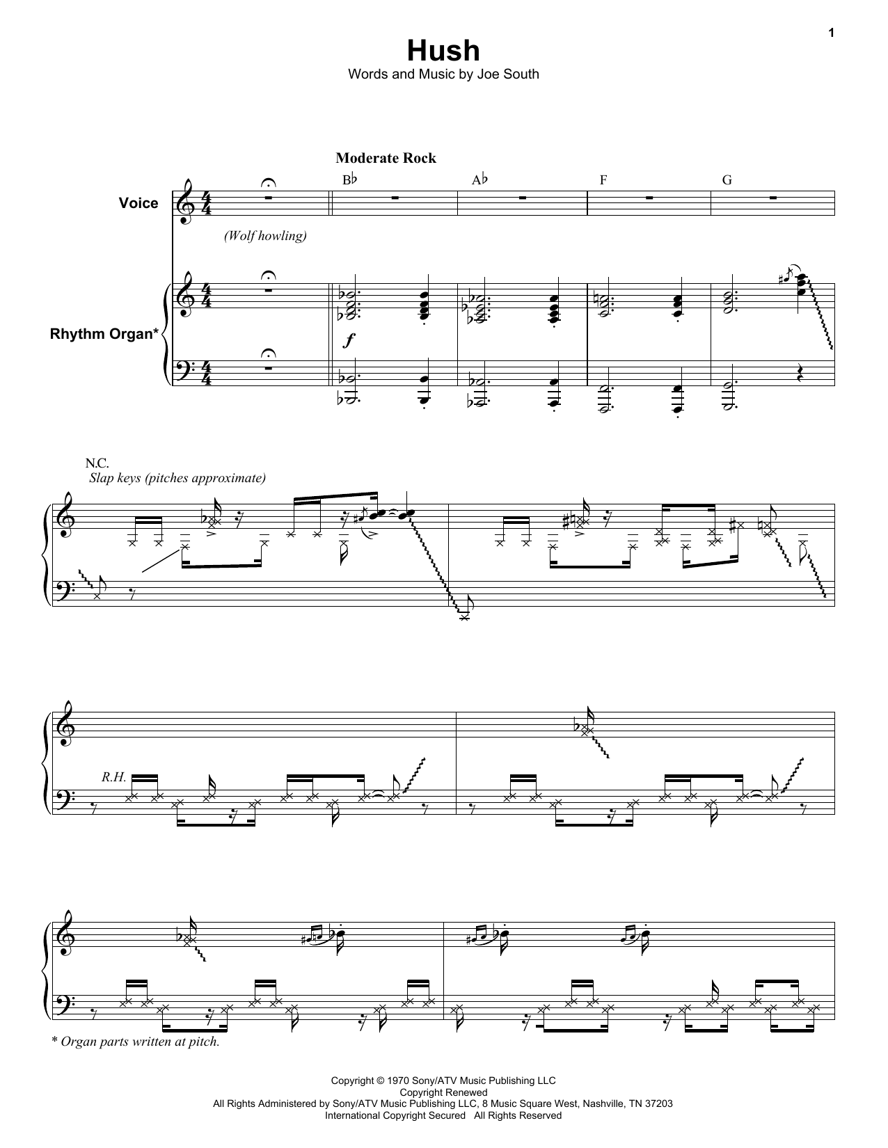 Hush Sheet Music Deep Purple Keyboard Transcription