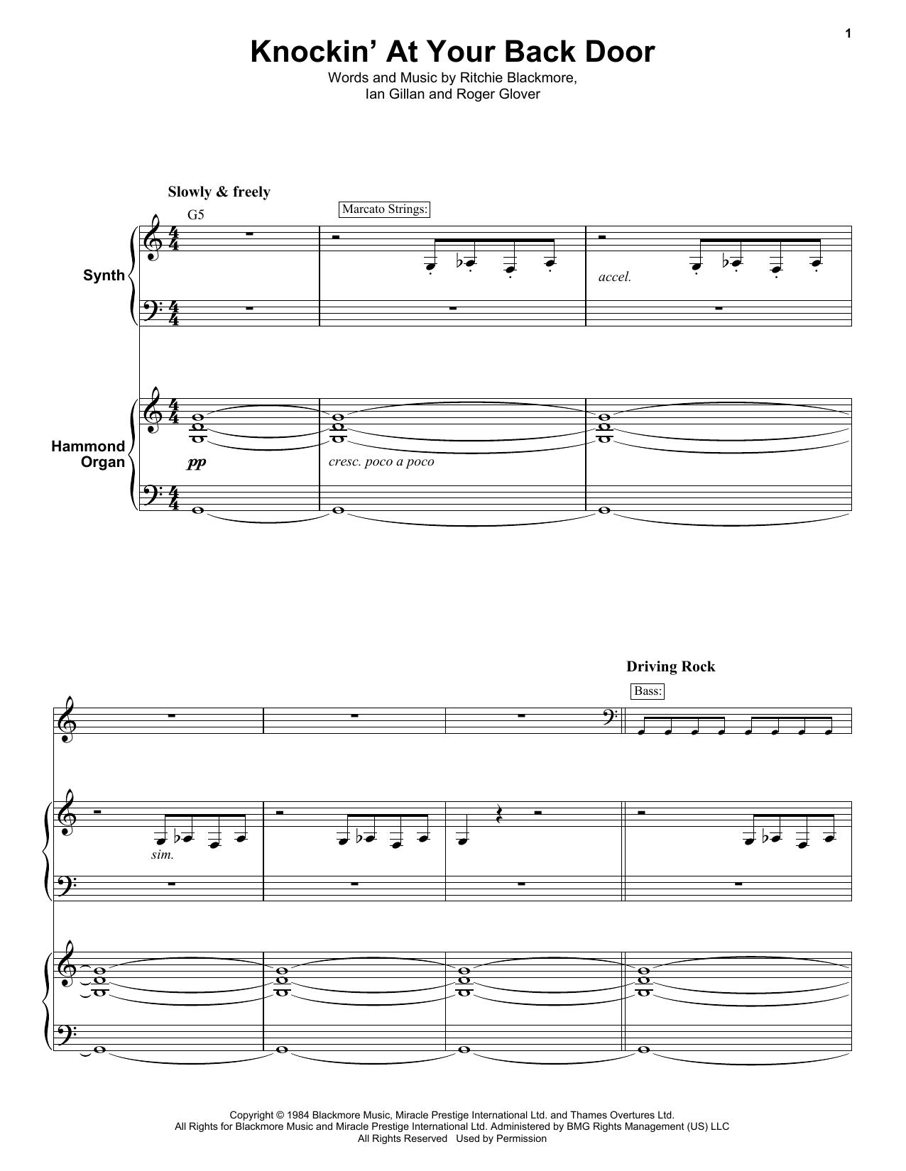presentando designer nuovo e usato marchio famoso Knocking At Your Back Door by Deep Purple Keyboard Transcription Digital  Sheet Music