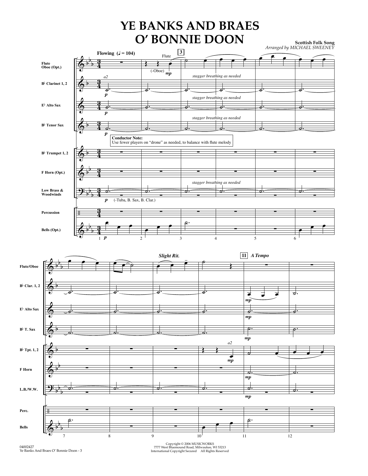 Ye Banks and Braes o' Bonnie Doon (COMPLETE) sheet music for concert band by Michael Sweeney and Robert Burns. Score Image Preview.