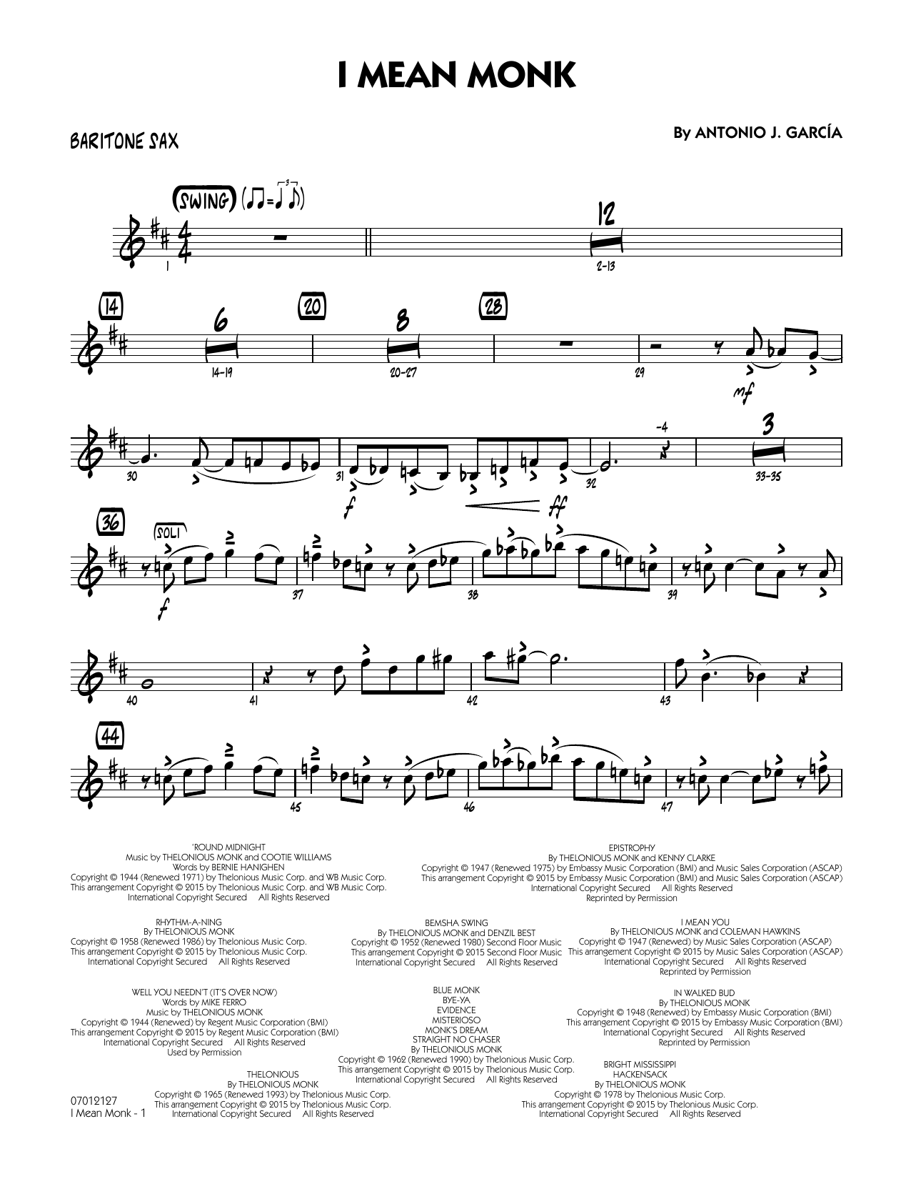 I Mean Monk - Baritone Sax (Jazz Ensemble)