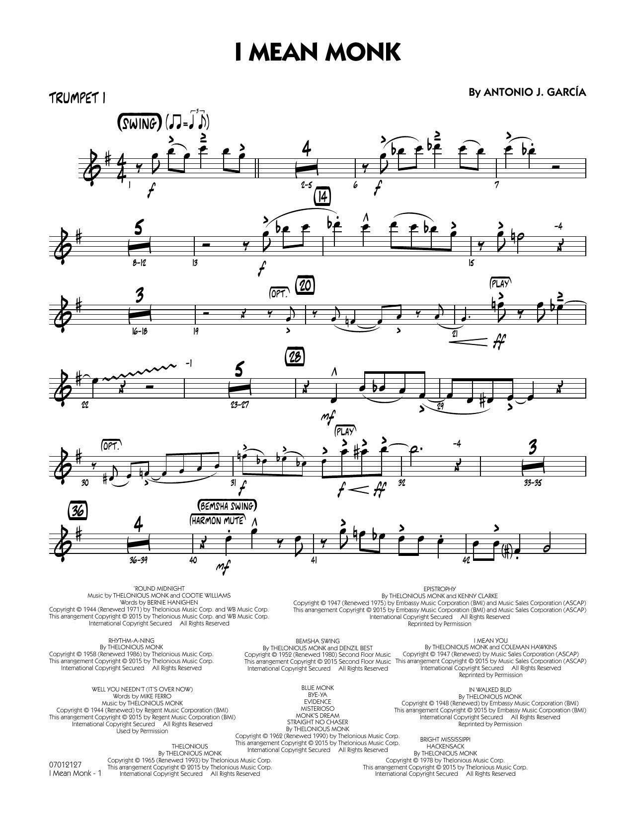 I Mean Monk - Trumpet 1 (Jazz Ensemble)