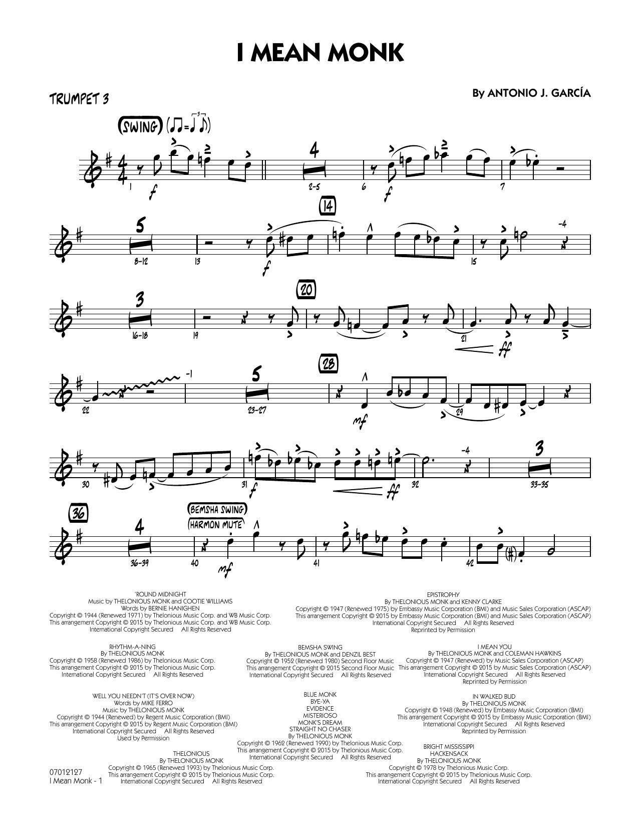 I Mean Monk - Trumpet 3 (Jazz Ensemble)