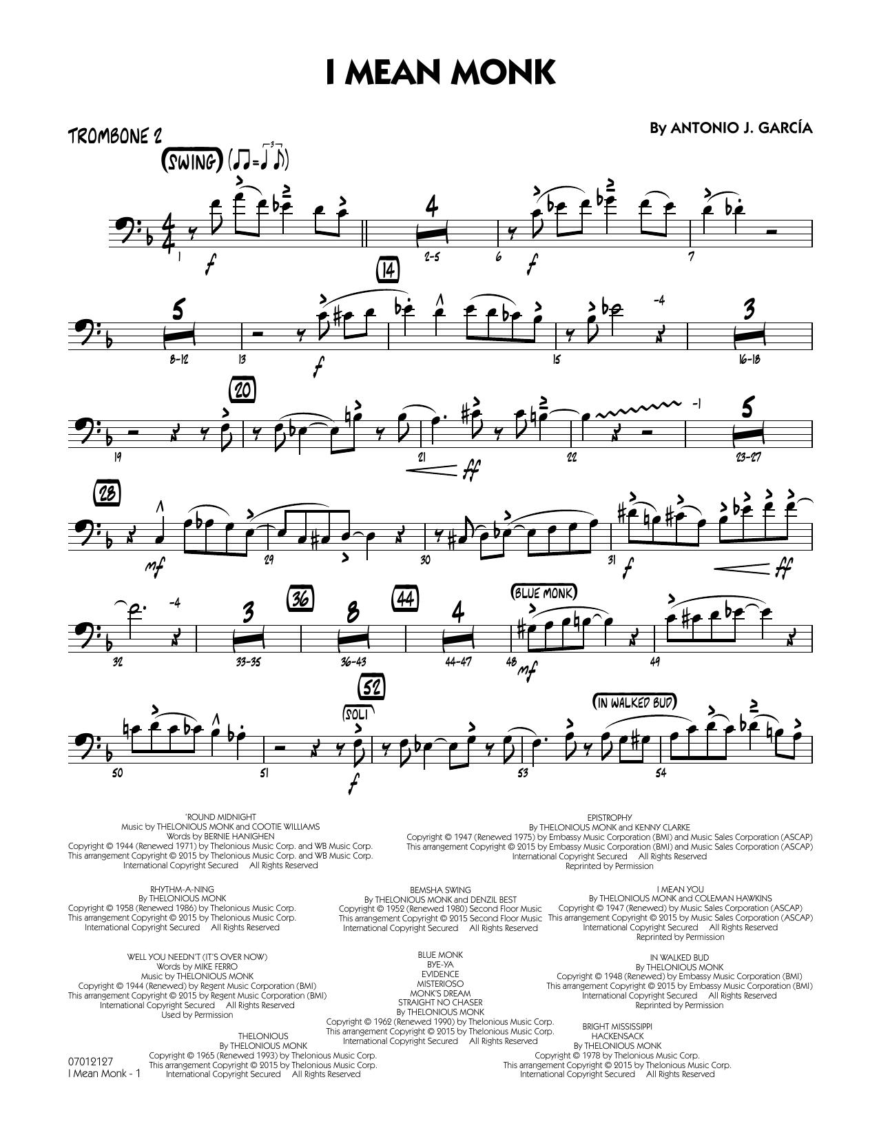 I Mean Monk - Trombone 2 (Jazz Ensemble)
