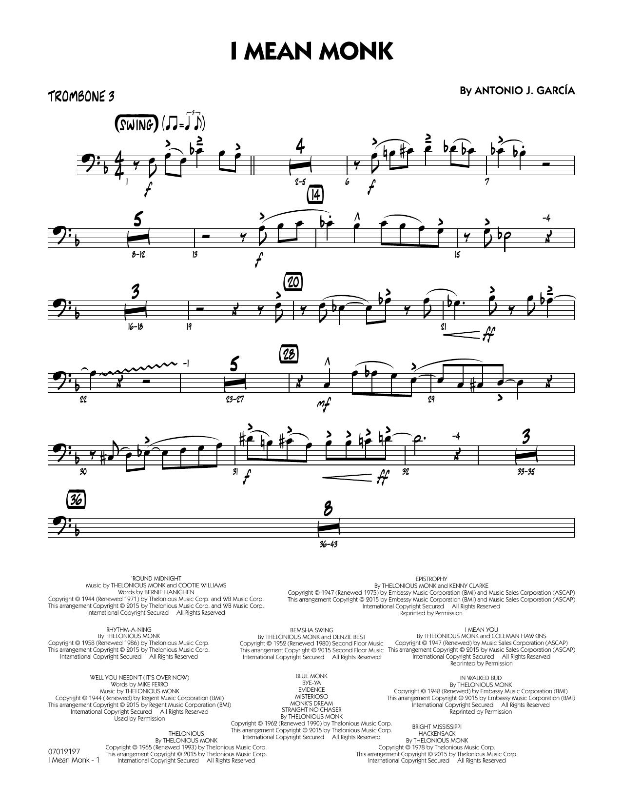 I Mean Monk - Trombone 3 (Jazz Ensemble)