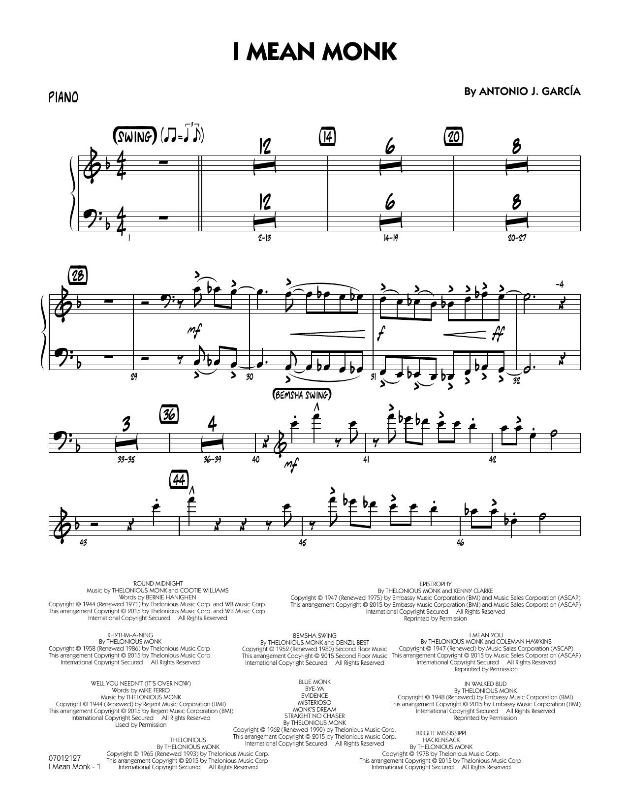 I Mean Monk - Piano (Jazz Ensemble)