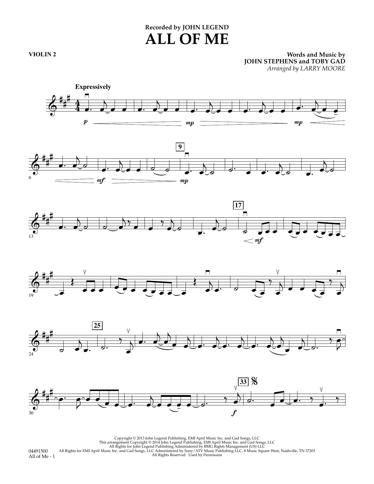 All Of Me Violin 2 Sheet Music To Download