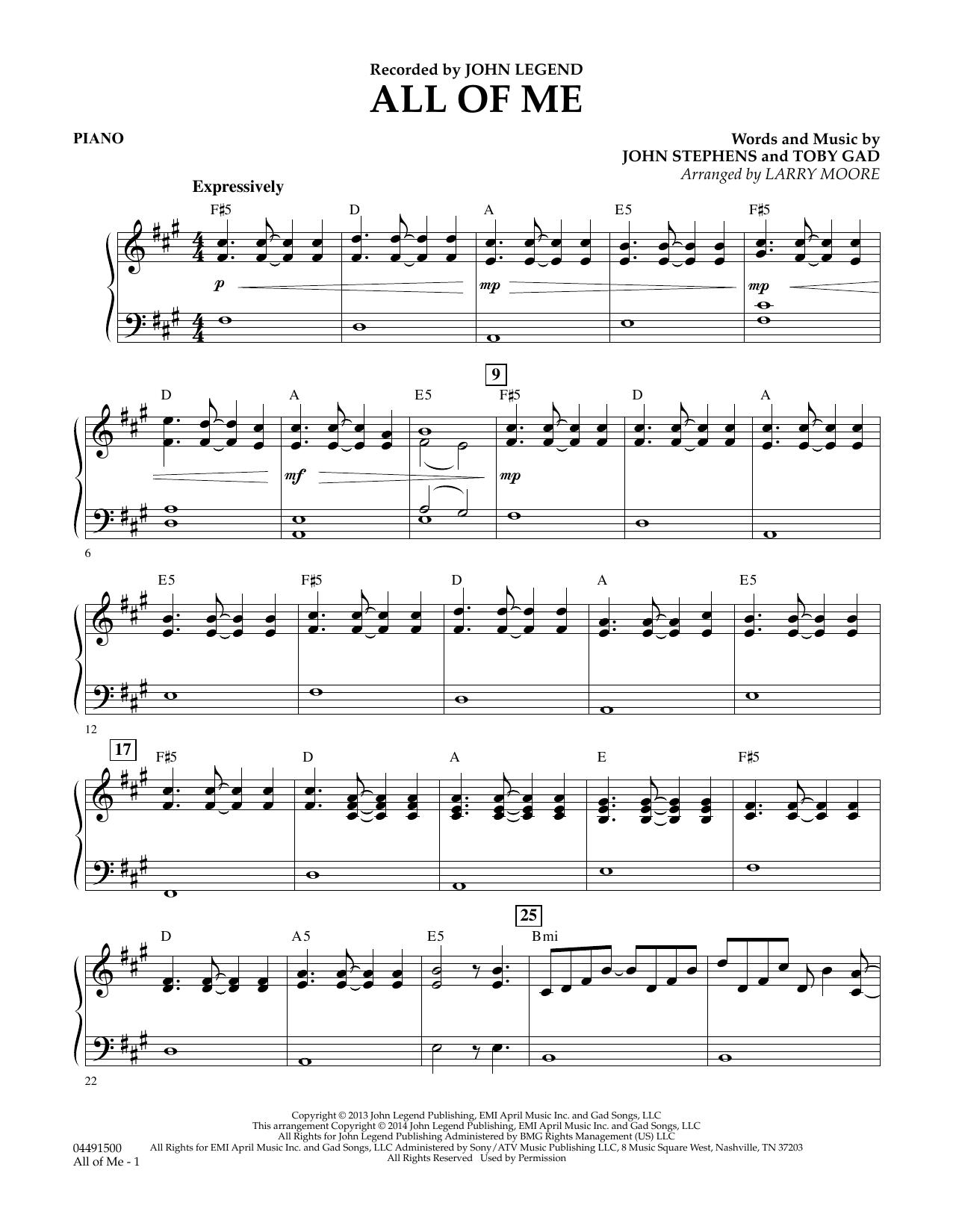 All Of Me Piano Sheet Music sheet music digital files to print - licensed john stephens