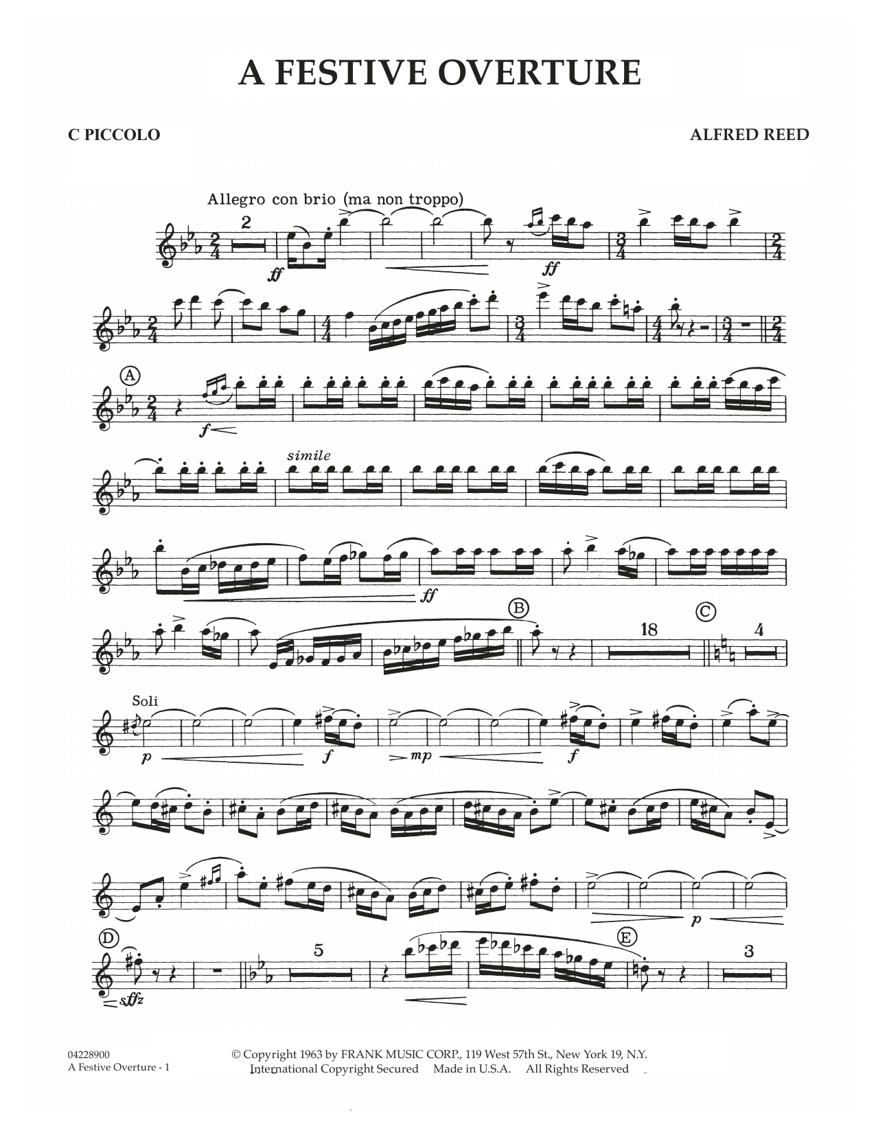A Festive Overture - C Piccolo (Concert Band)