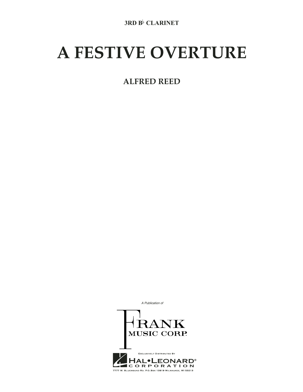 A Festive Overture - 3rd Bb Clarinet (Concert Band)
