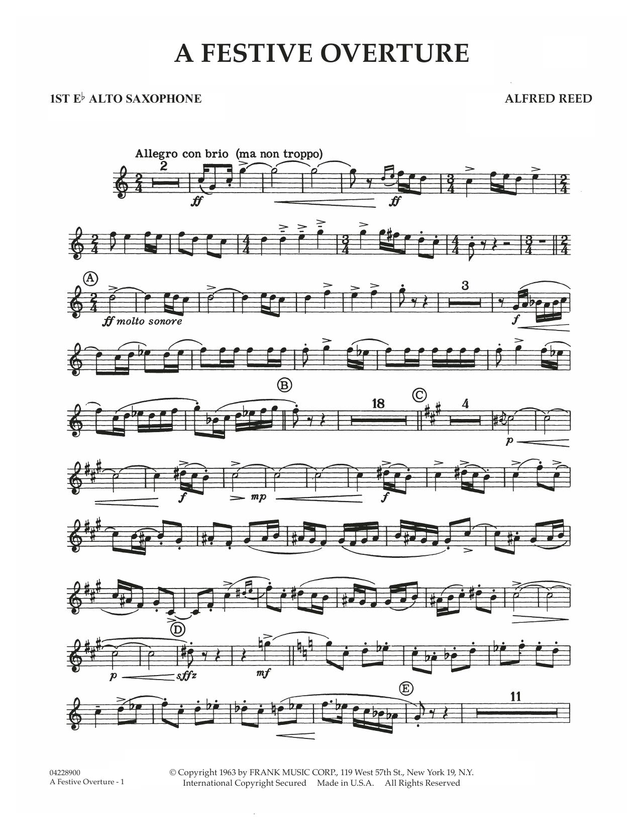 A Festive Overture - 1st Eb Alto Saxophone (Concert Band)