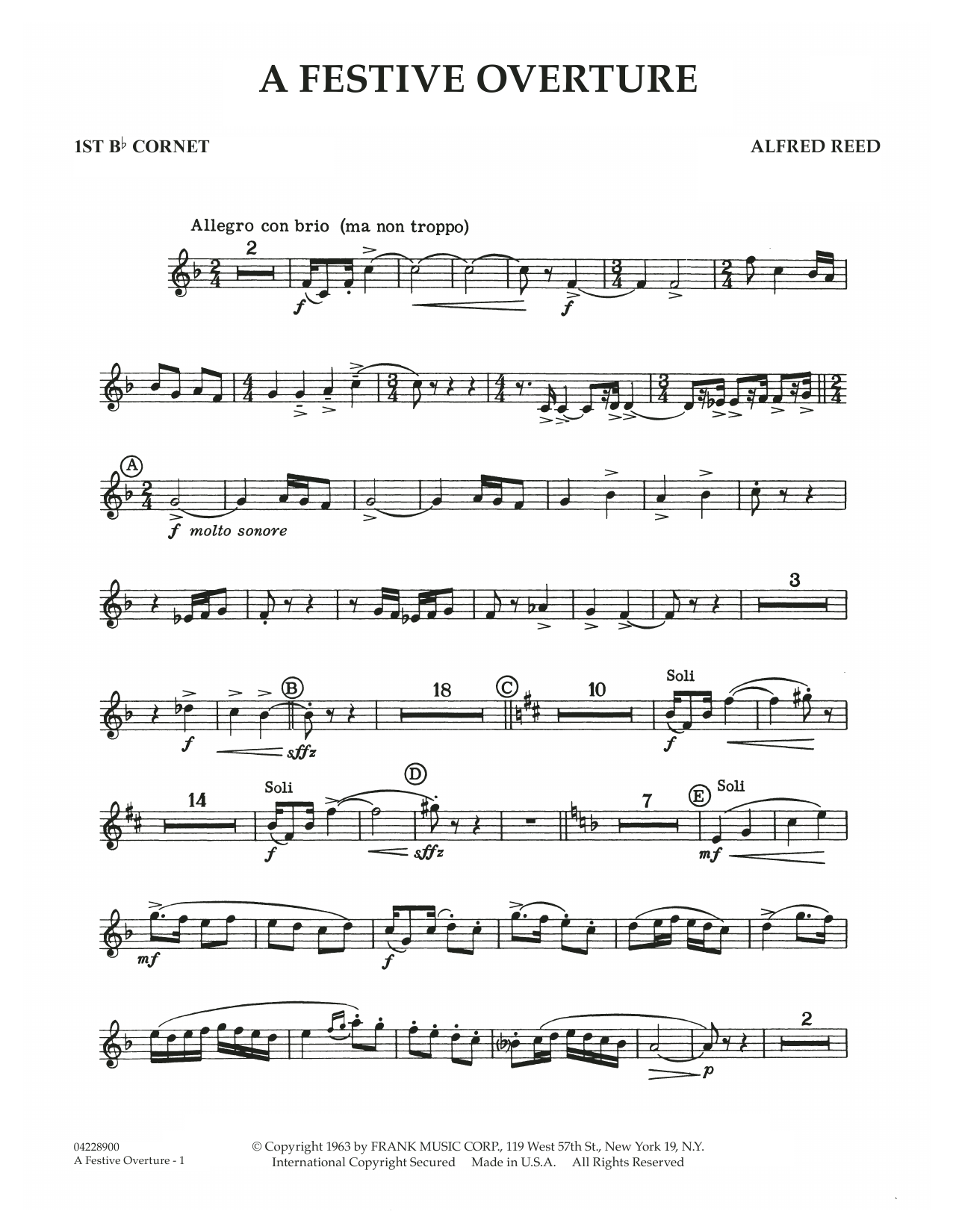 A Festive Overture - 1st Bb Cornet 1 (Concert Band)