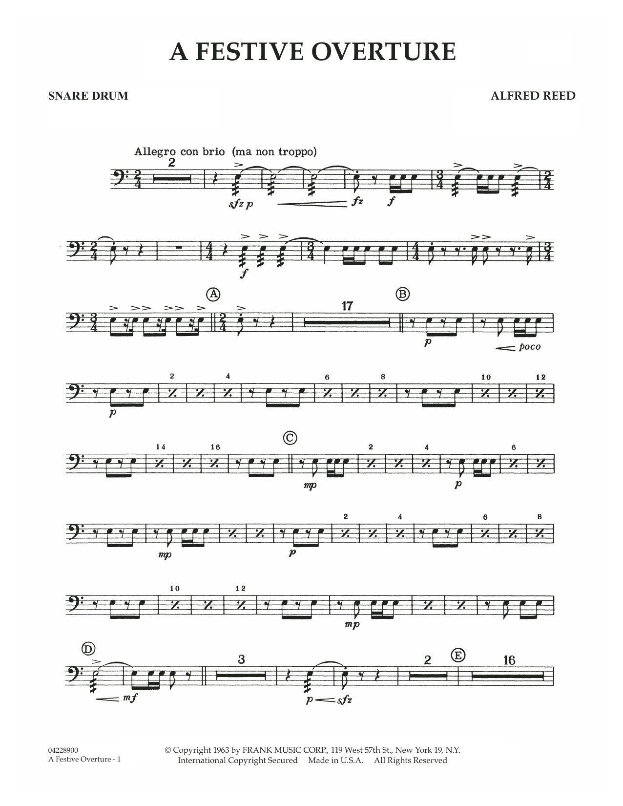 A Festive Overture - Snare Drum (Concert Band)