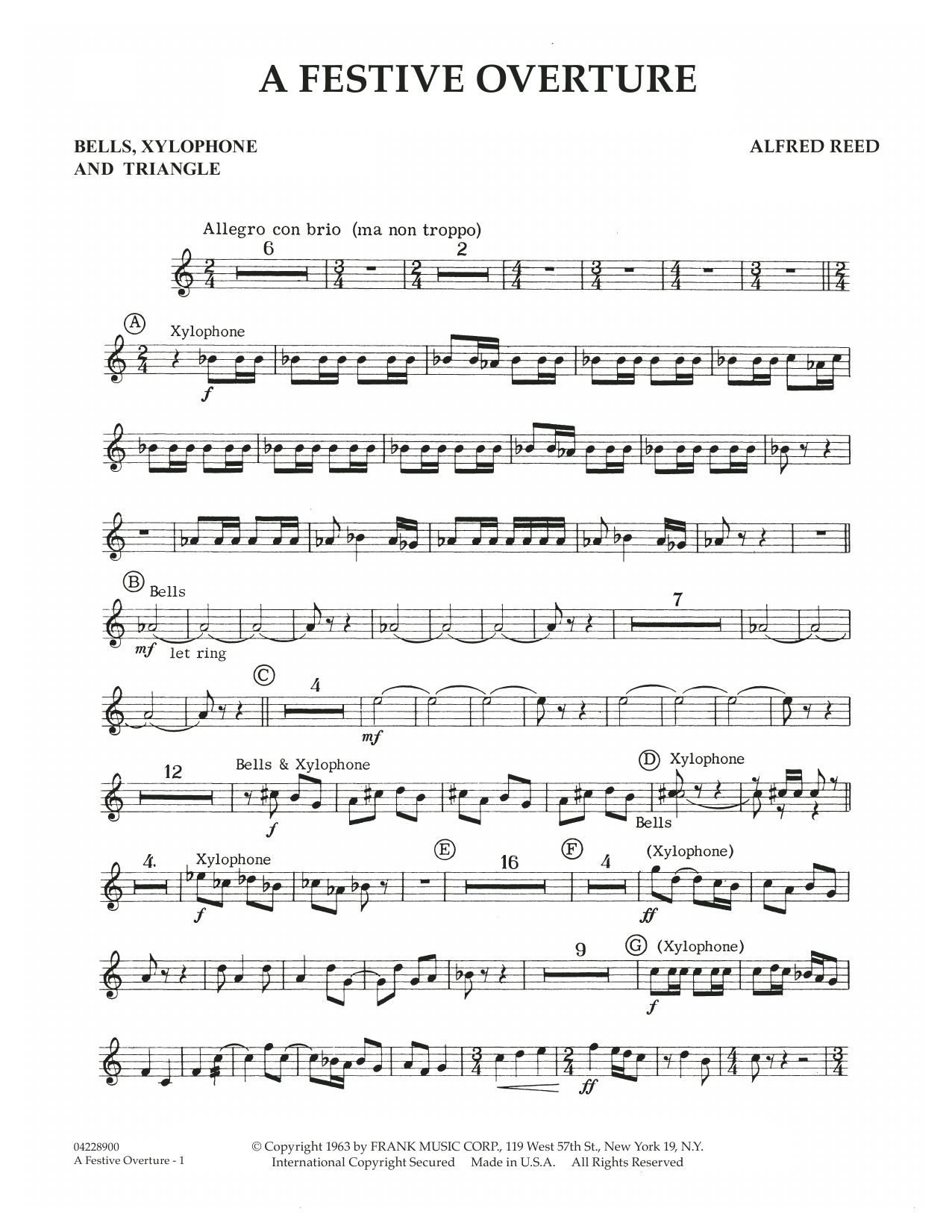 A Festive Overture - Bells,Xylophone,Triangle (Concert Band)