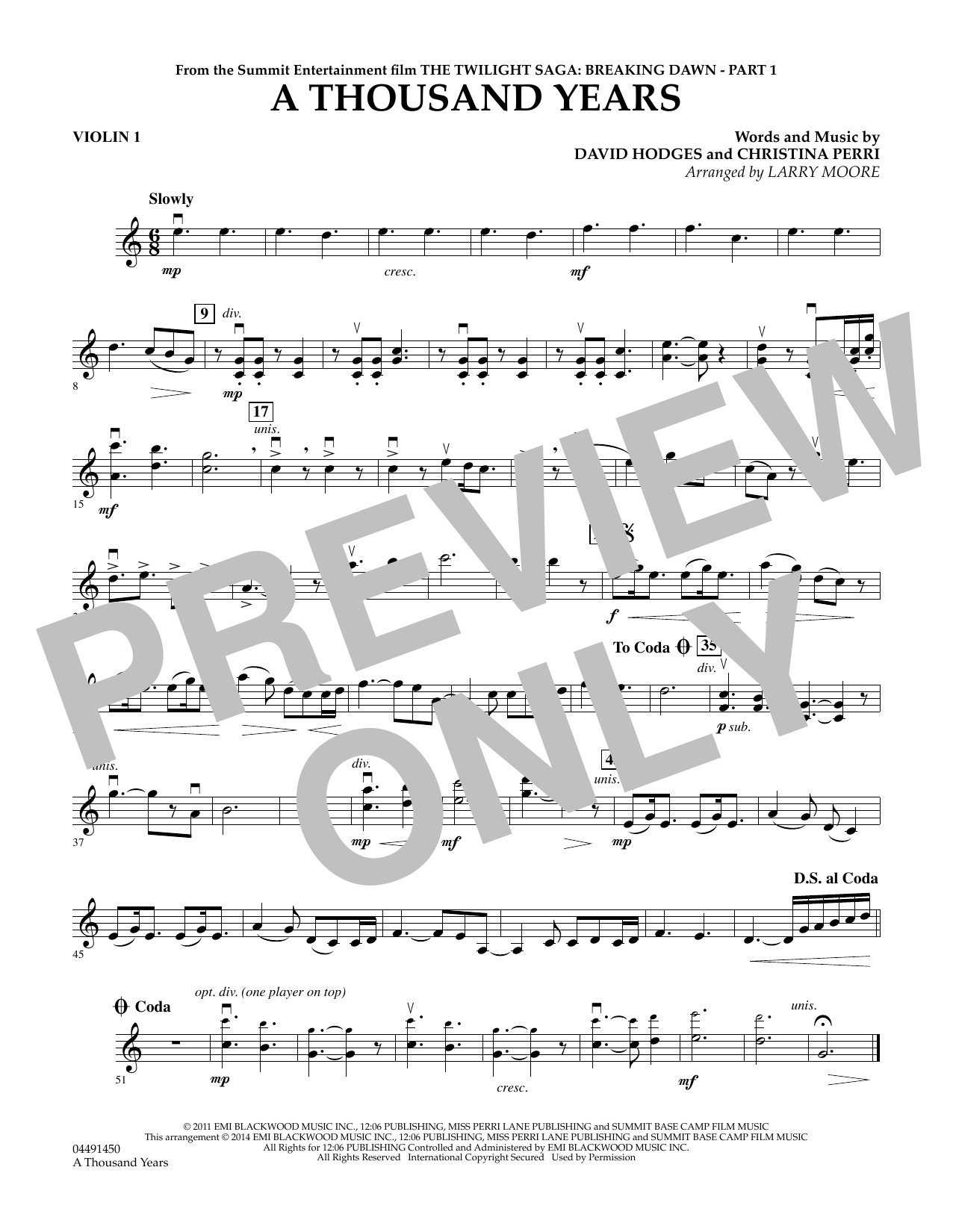 A Thousand Years - Violin 1 - Sheet Music to Download