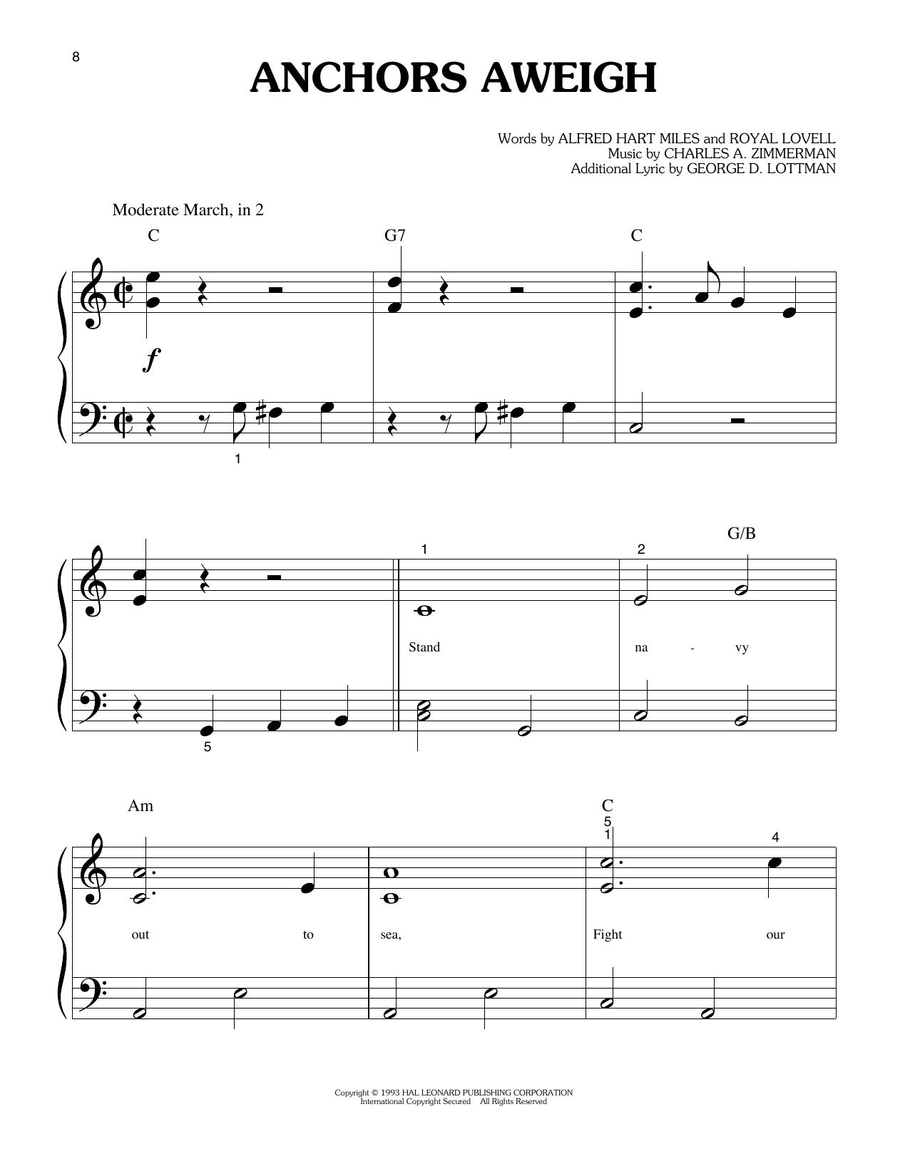 Anchors Aweigh (Big Note Piano)