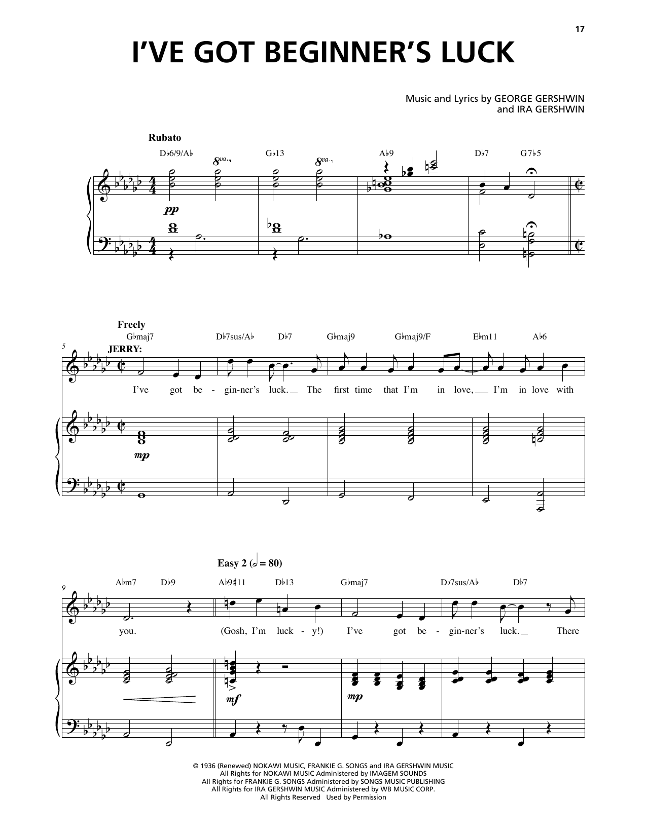 I've Got Beginner's Luck (from An American In Paris) (Piano & Vocal)