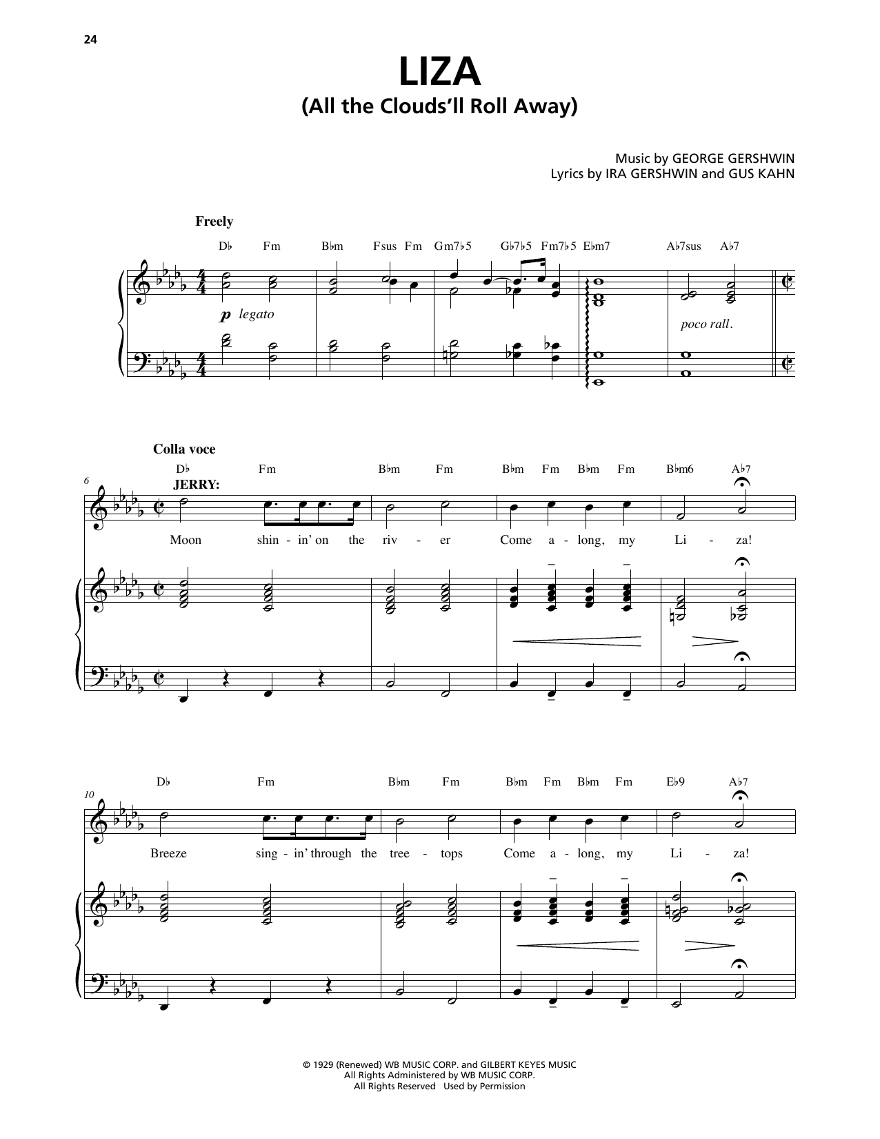 Liza (All The Clouds'll Roll Away) (from An American In Paris) Sheet Music