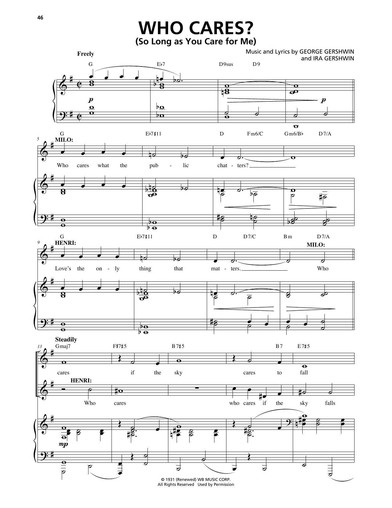 Who Cares? (So Long As You Care For Me) (from An American In Paris) Sheet Music