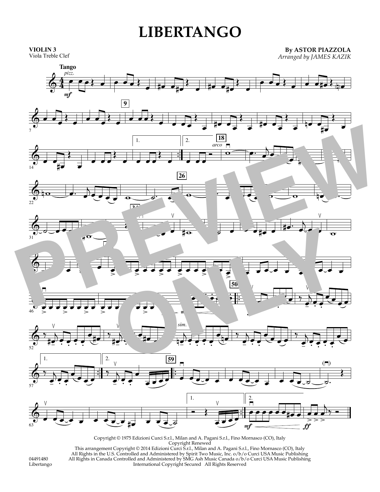 Libertango - Violin 3 (Viola Treble Clef) (Orchestra)