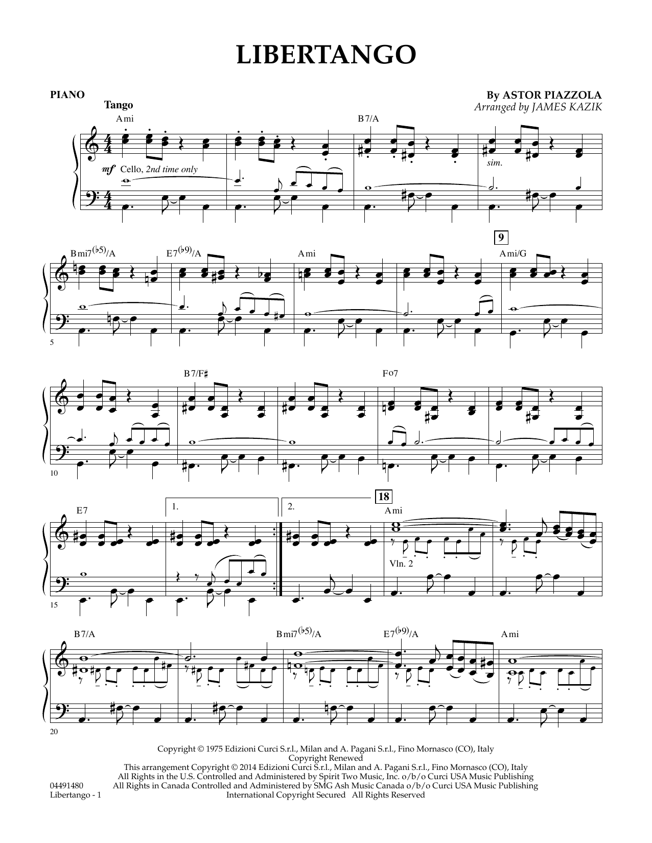 Libertango - Piano by James Kazik Orchestra Digital Sheet Music