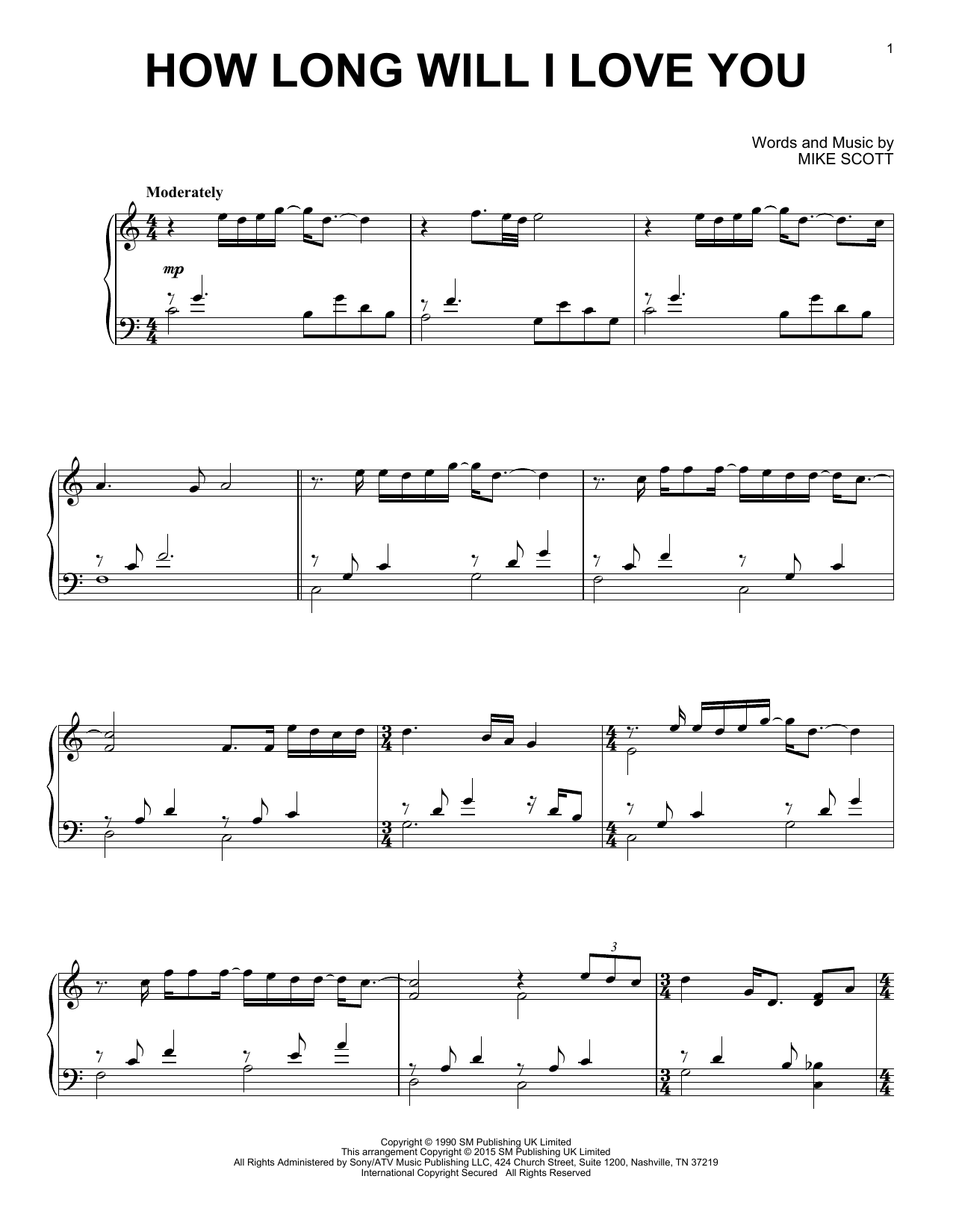 Partition piano How Long Will I Love You de Ellie Goulding - Piano Solo