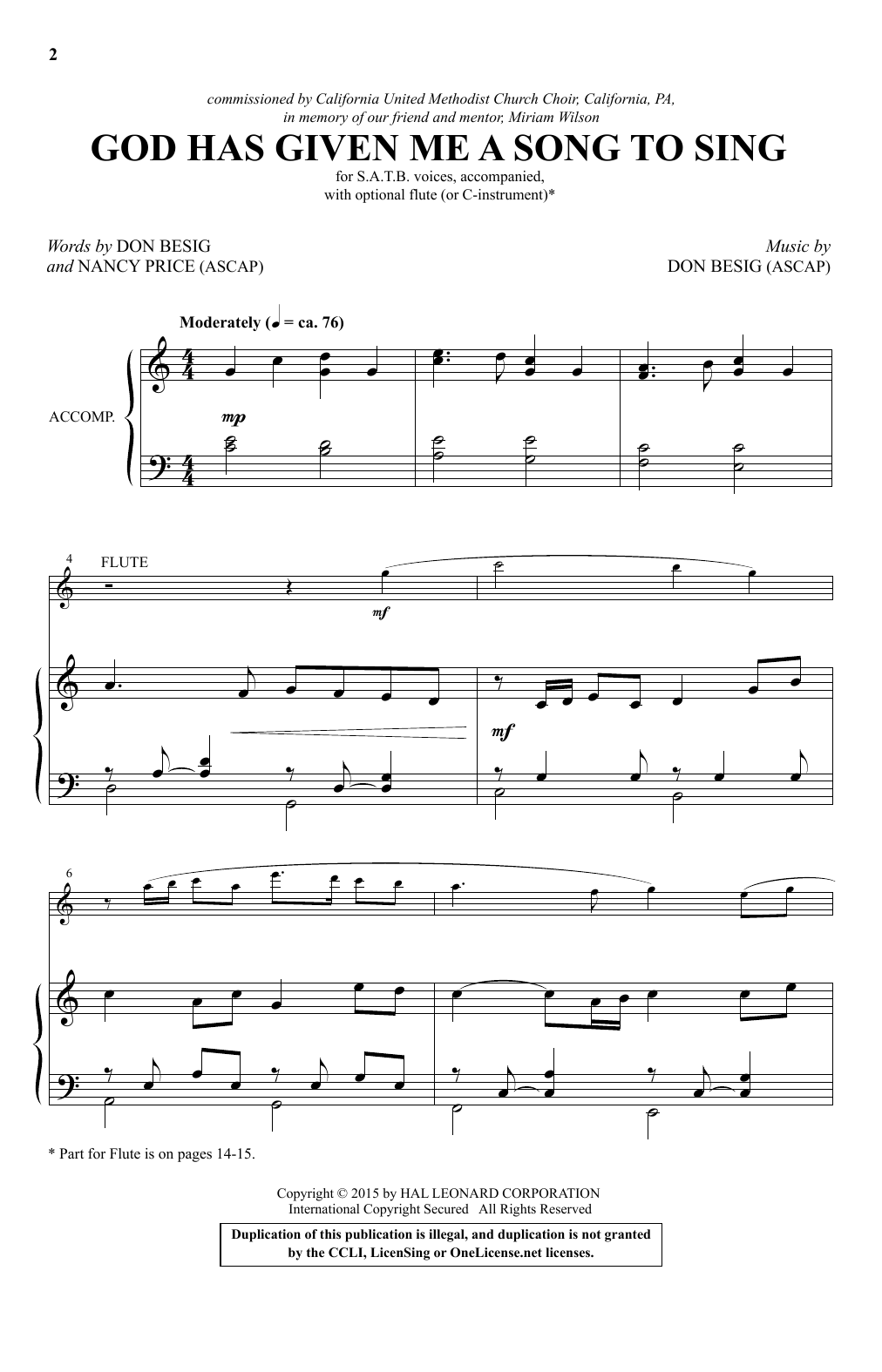 God Has Given Me A Song To Sing Sheet Music