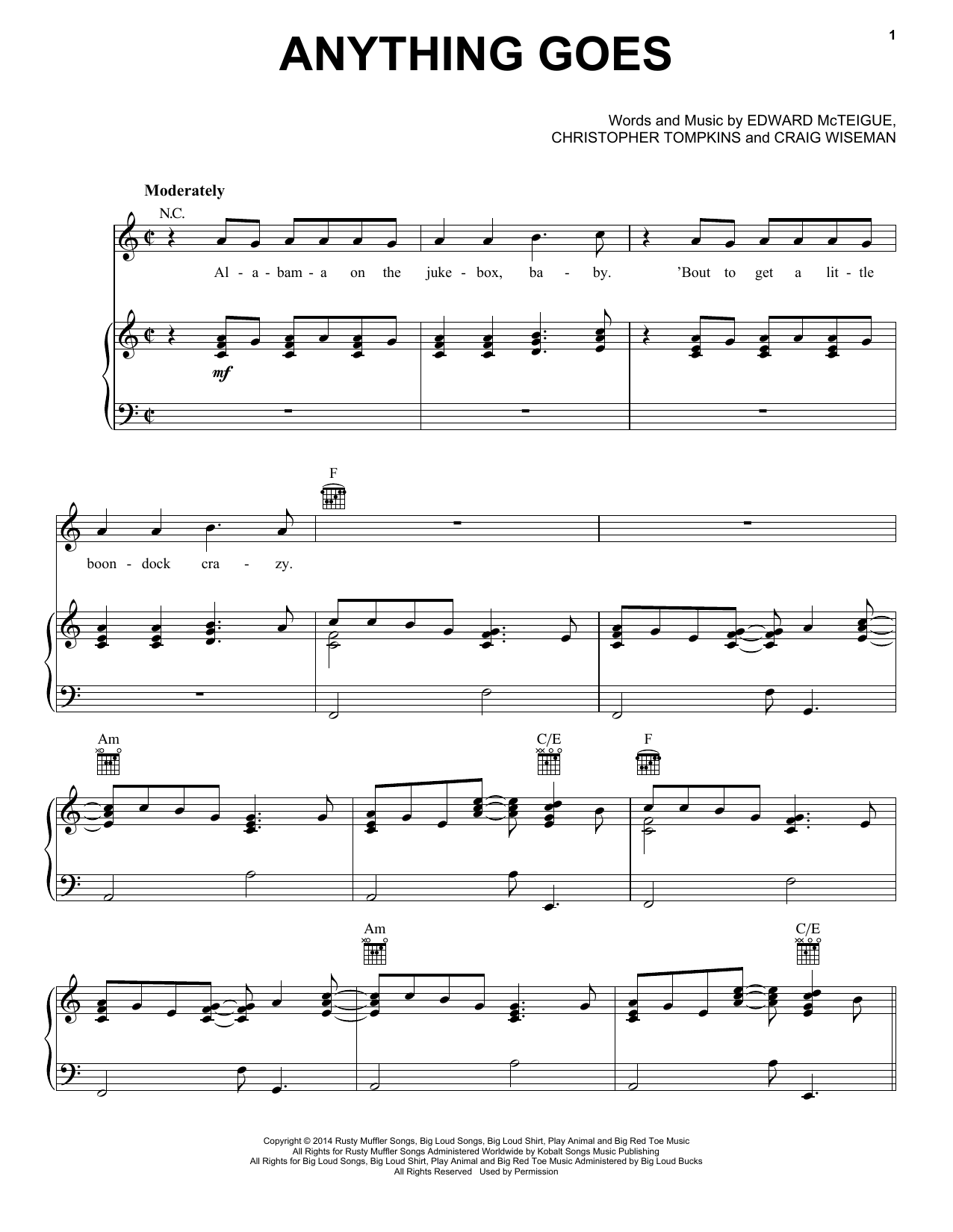 Anything Goes (Piano, Vocal & Guitar (Right-Hand Melody))
