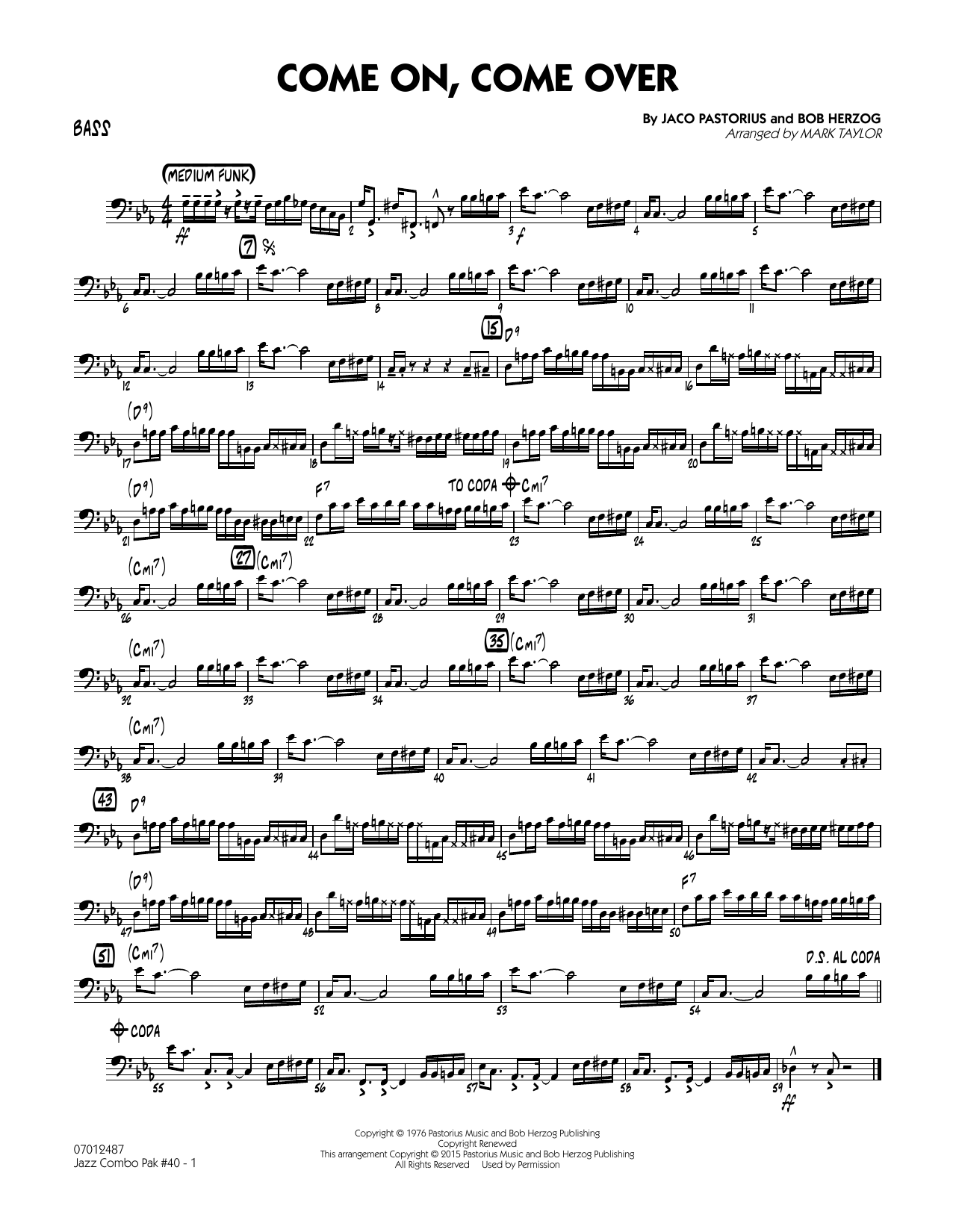 Jazz Combo Pak #40 (Jaco Pastorius) - Bass (Jazz Ensemble)