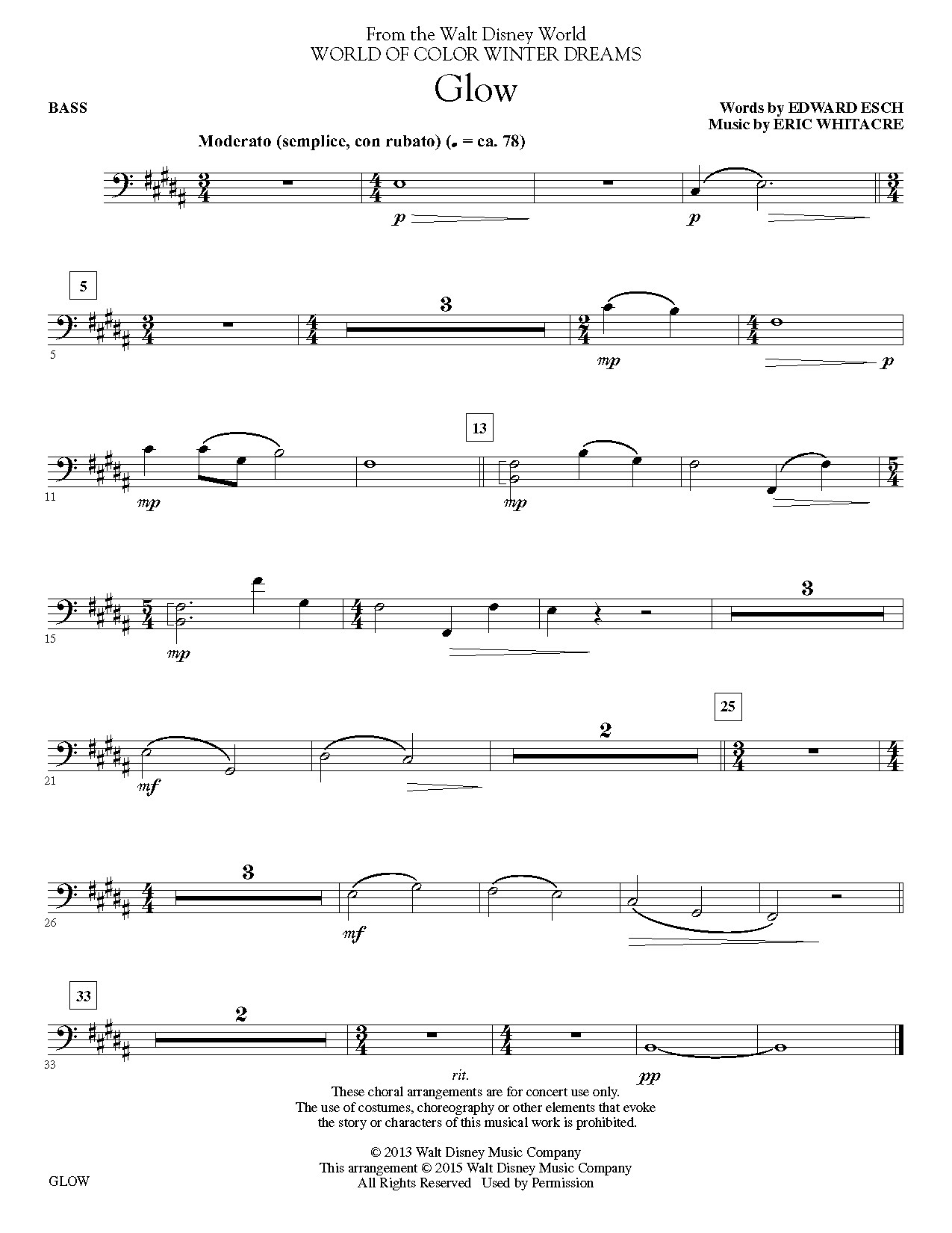 Glow - Bass Sheet Music