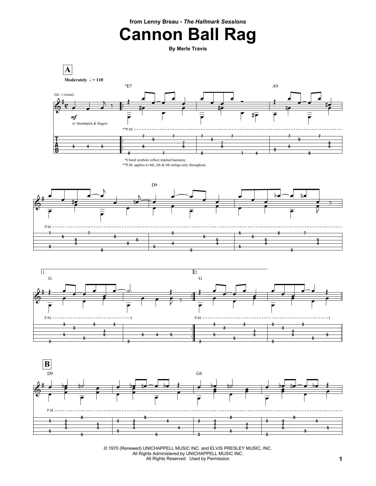 Tablature guitare Cannon Ball Rag de Lenny Breau - Tablature Guitare