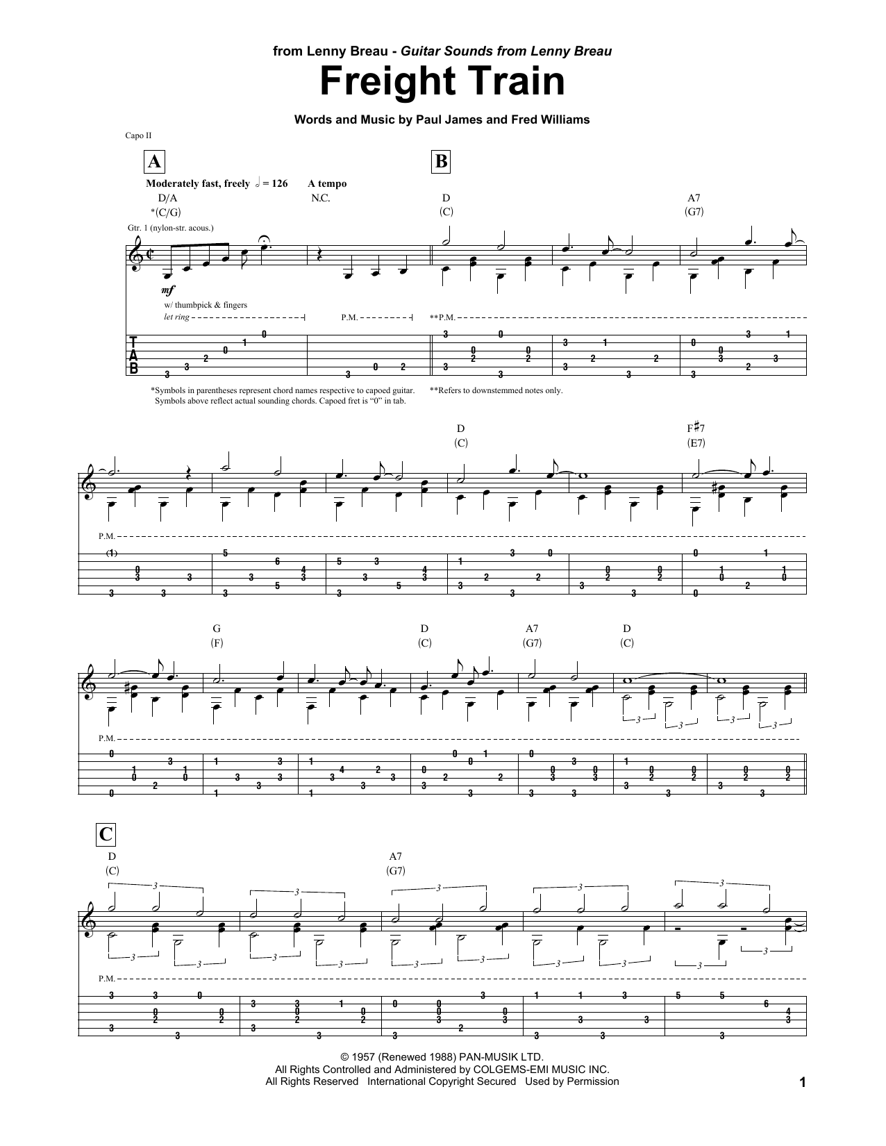 Tablature guitare Freight Train de Lenny Breau - Tablature Guitare