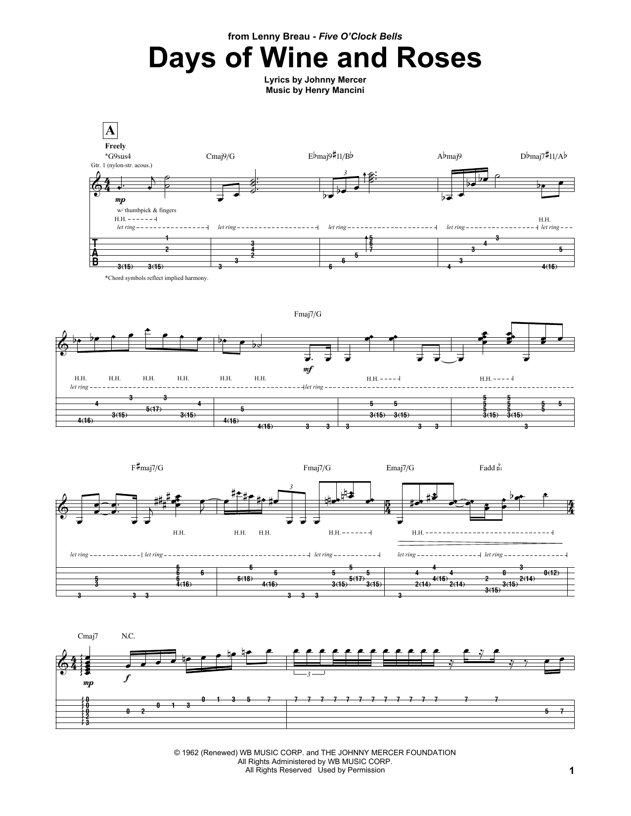 Days Of Wine And Roses (Guitar Tab)