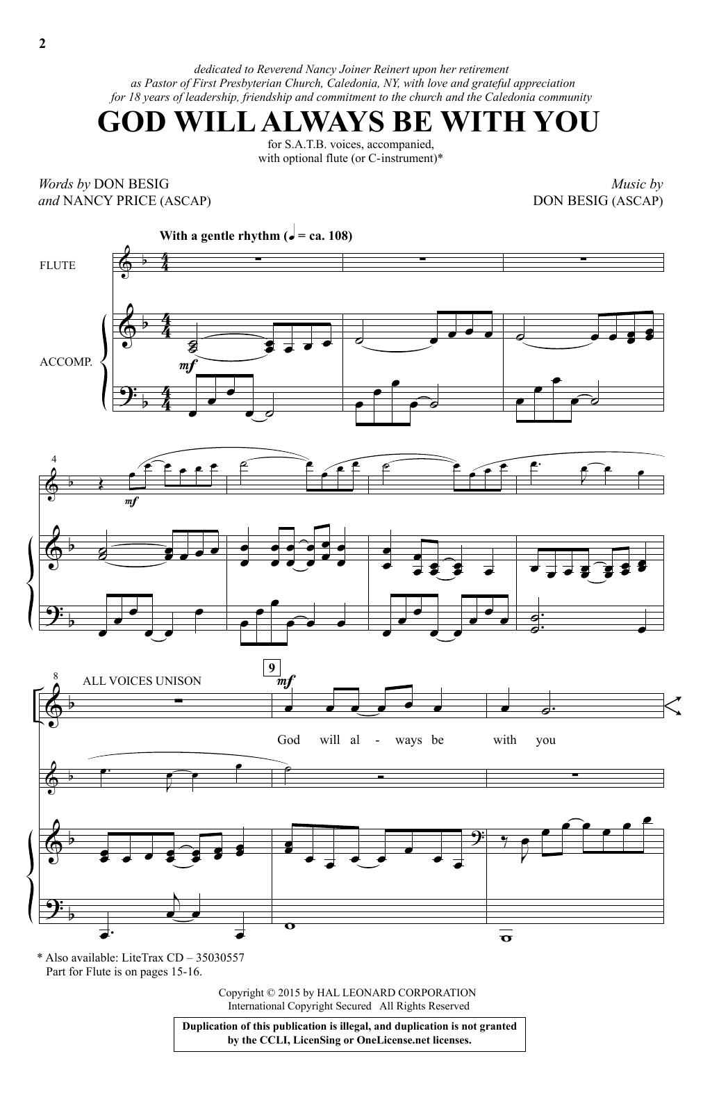 Partition chorale God Will Always Be With You de Don Besig - SATB