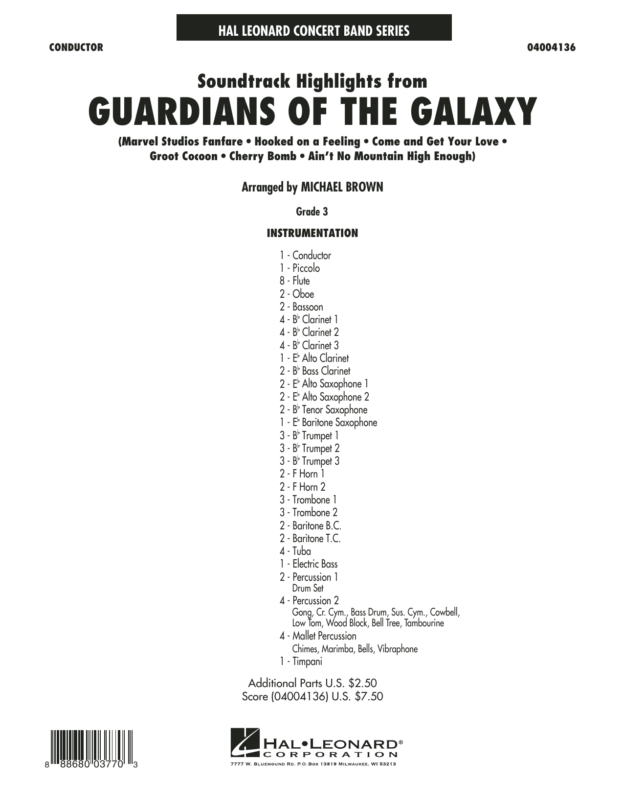 Soundtrack Highlights from Guardians of the Galaxy (COMPLETE) sheet music for concert band by Michael Brown. Score Image Preview.