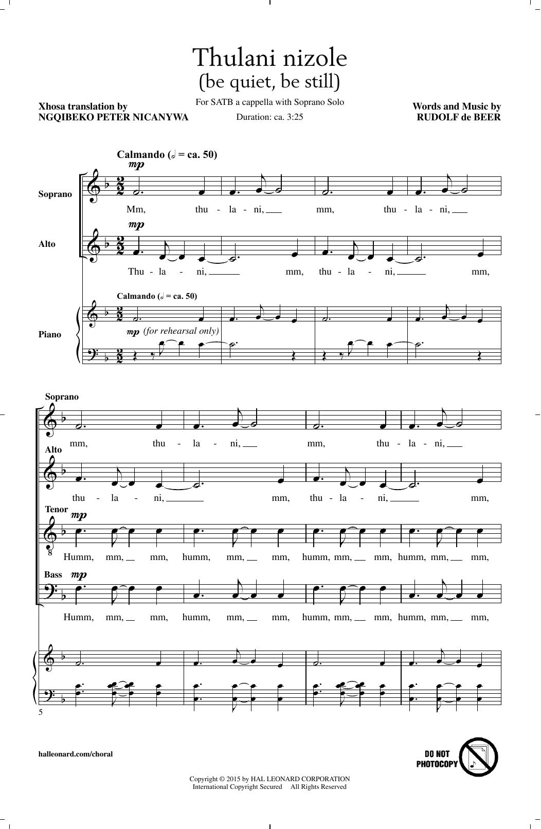 Thulani Nizole Sheet Music