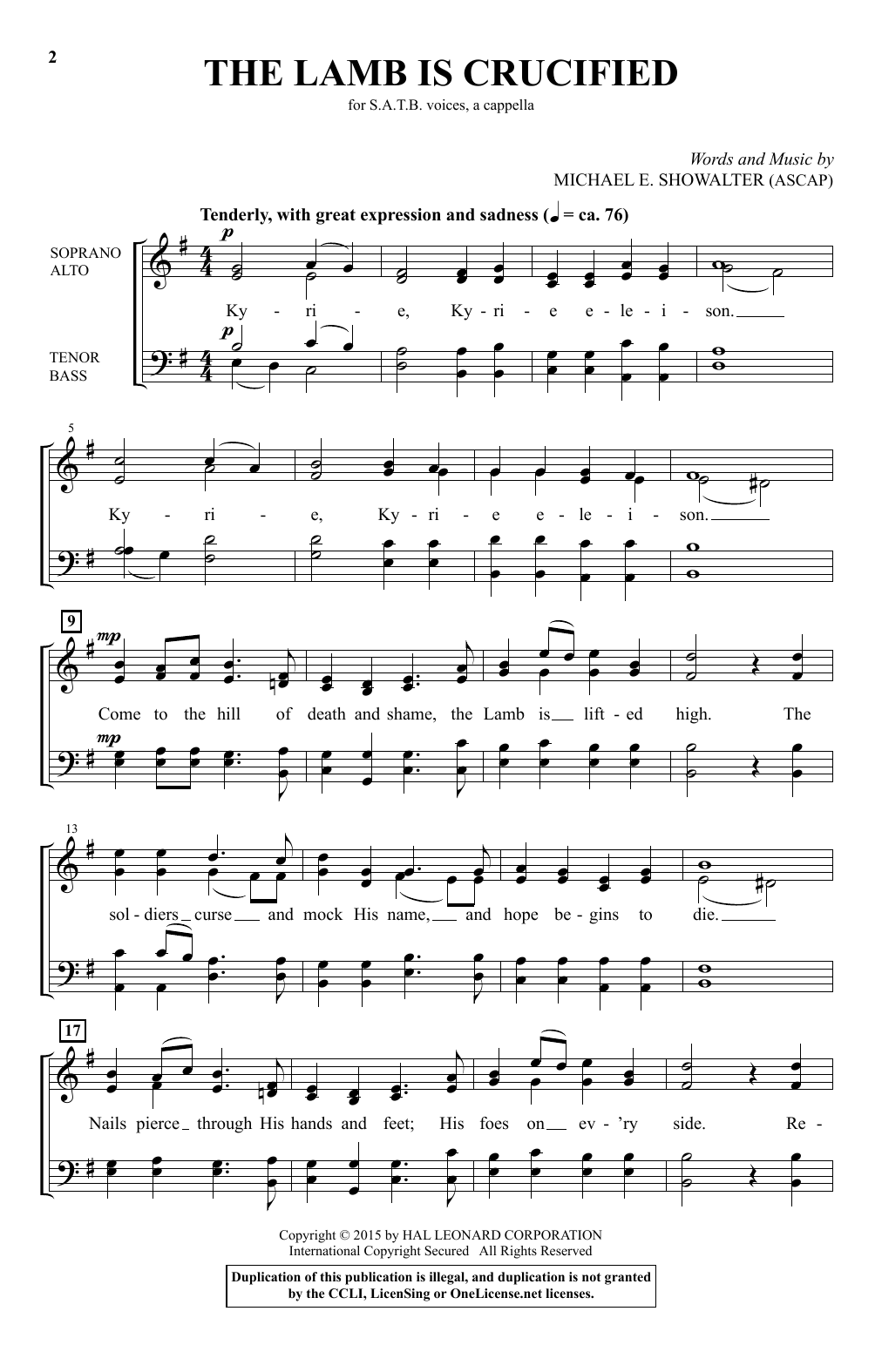 Partition chorale The Lamb Is Crucified de Michael E. Showalter - SATB